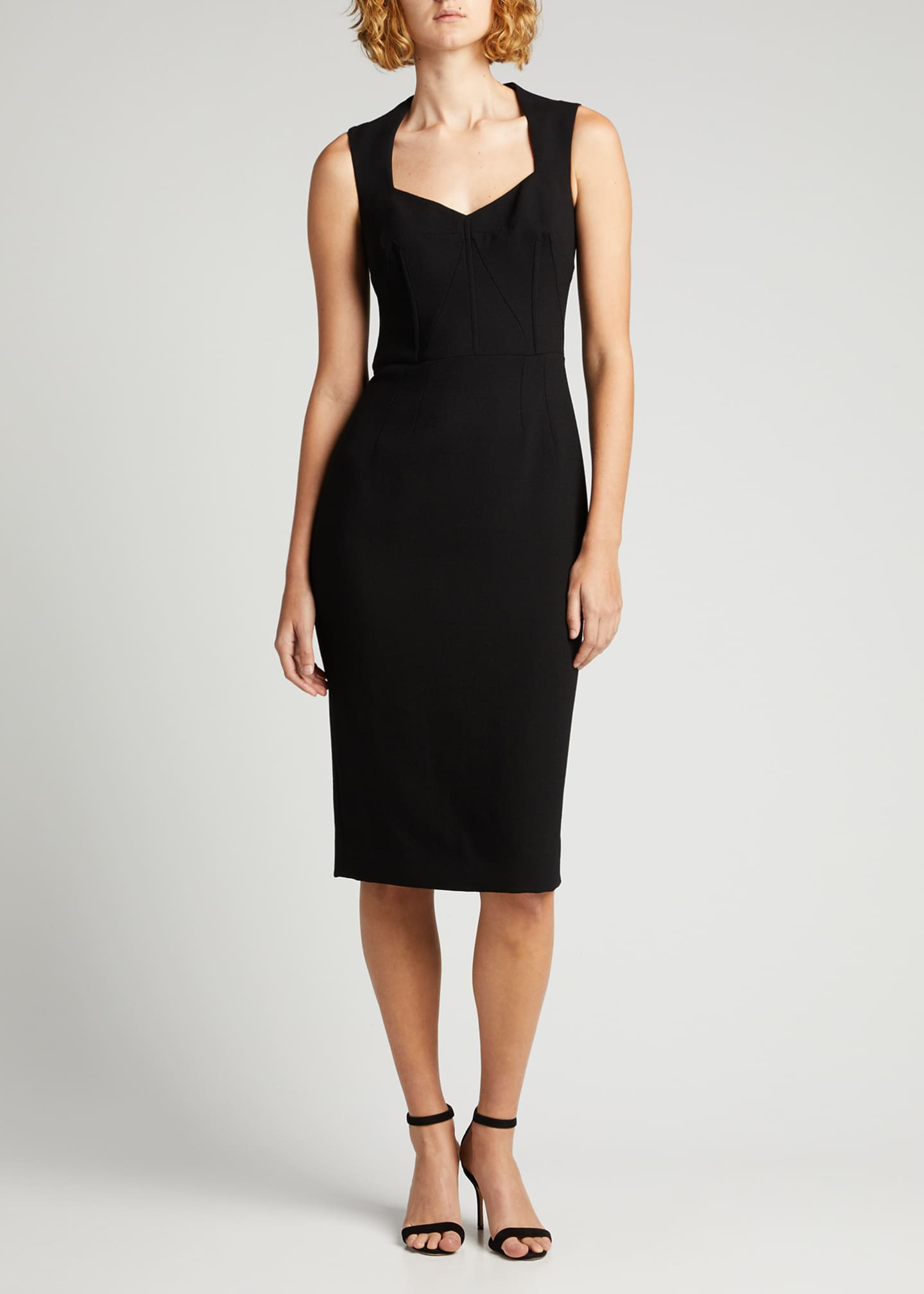 Image 3 of 5: Wool-Blend Crepe Sheath Midi Dress