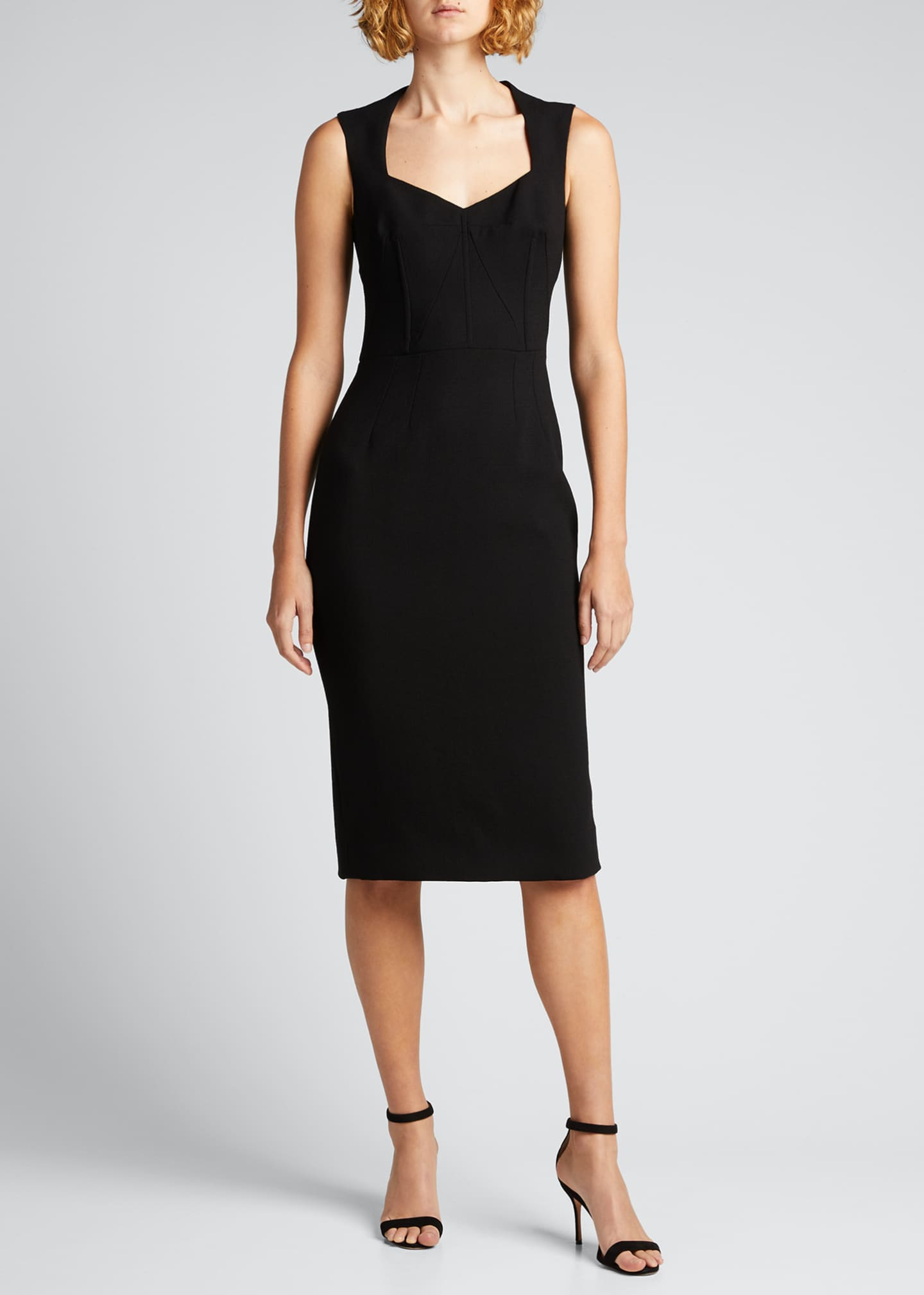 Image 1 of 5: Wool-Blend Crepe Sheath Midi Dress