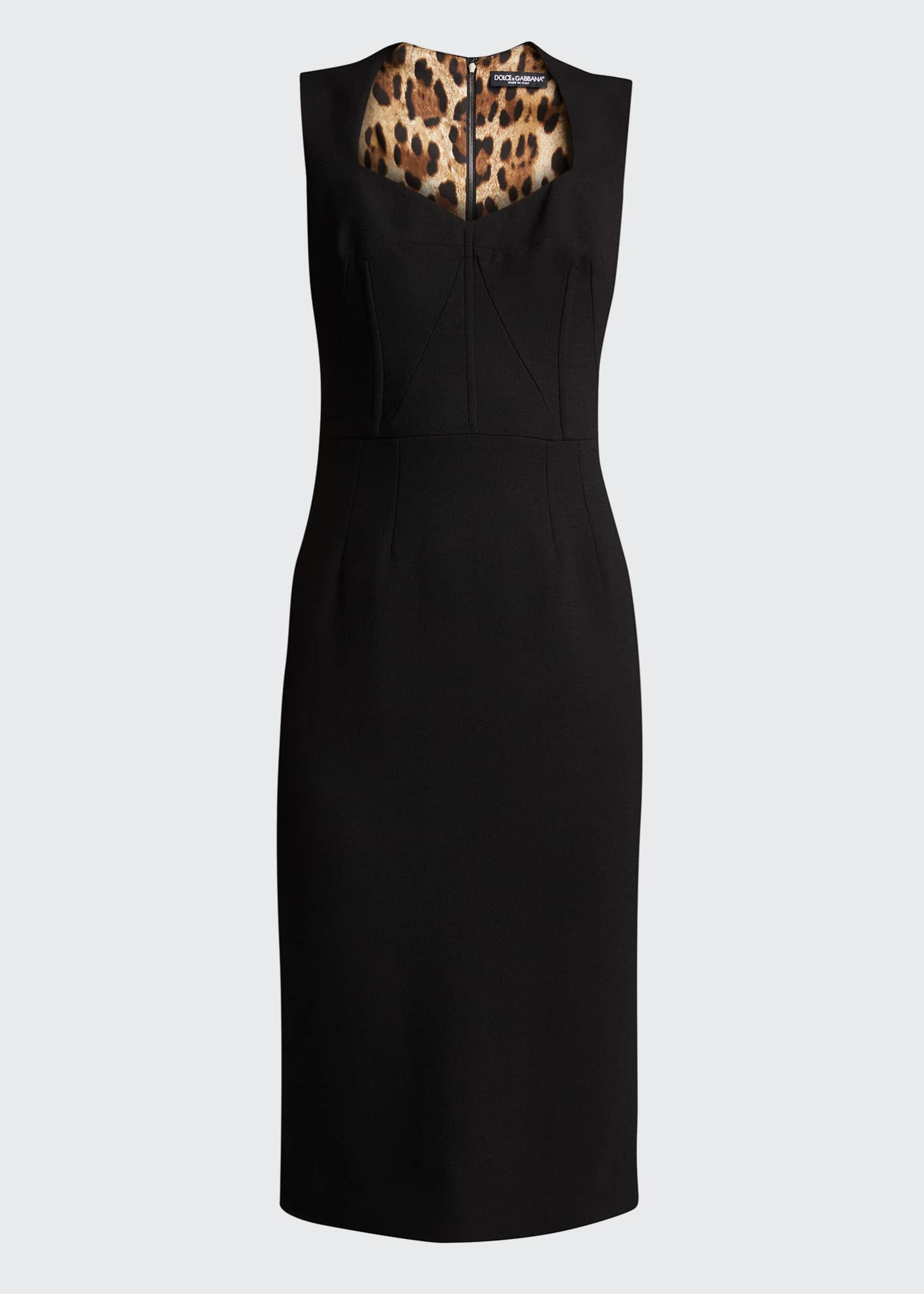 Image 5 of 5: Wool-Blend Crepe Sheath Midi Dress