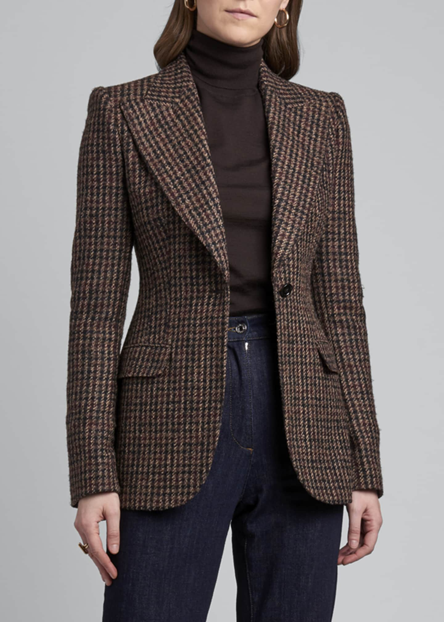 Image 3 of 4: Houndstooth One-Button Blazer