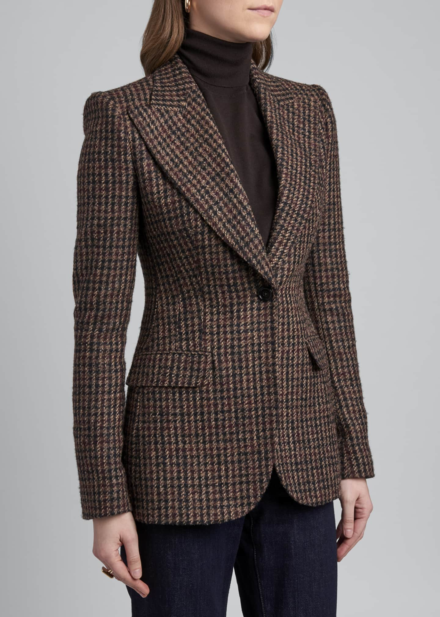 Image 4 of 4: Houndstooth One-Button Blazer