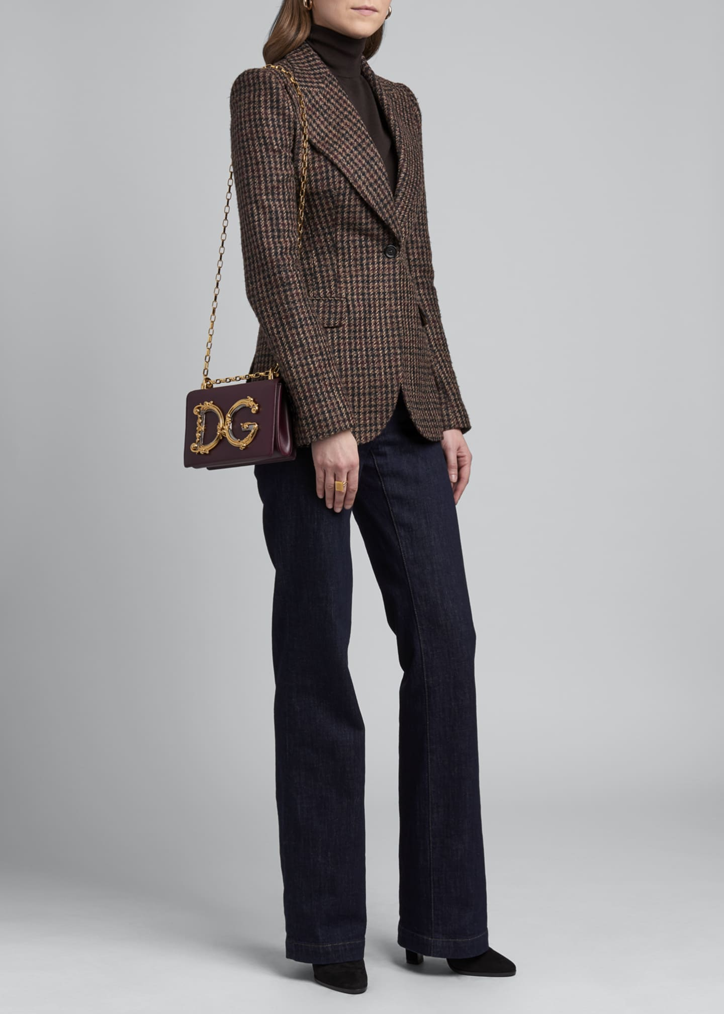 Image 1 of 4: Houndstooth One-Button Blazer