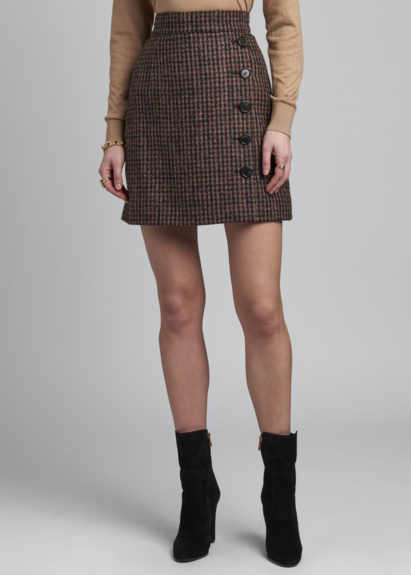Image 2 of 3: Side-Button Tweed Mini Skirt