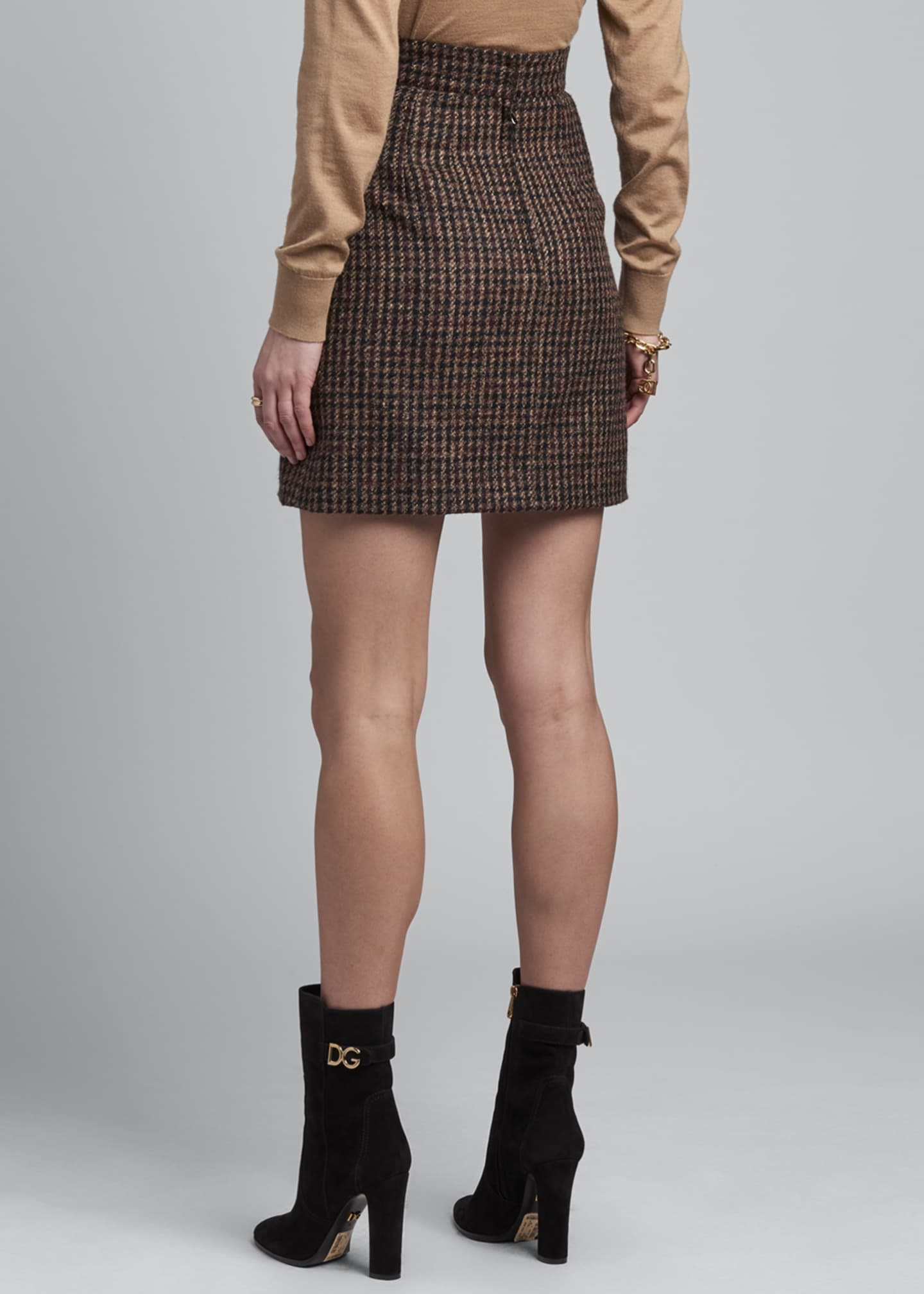 Image 3 of 3: Side-Button Tweed Mini Skirt