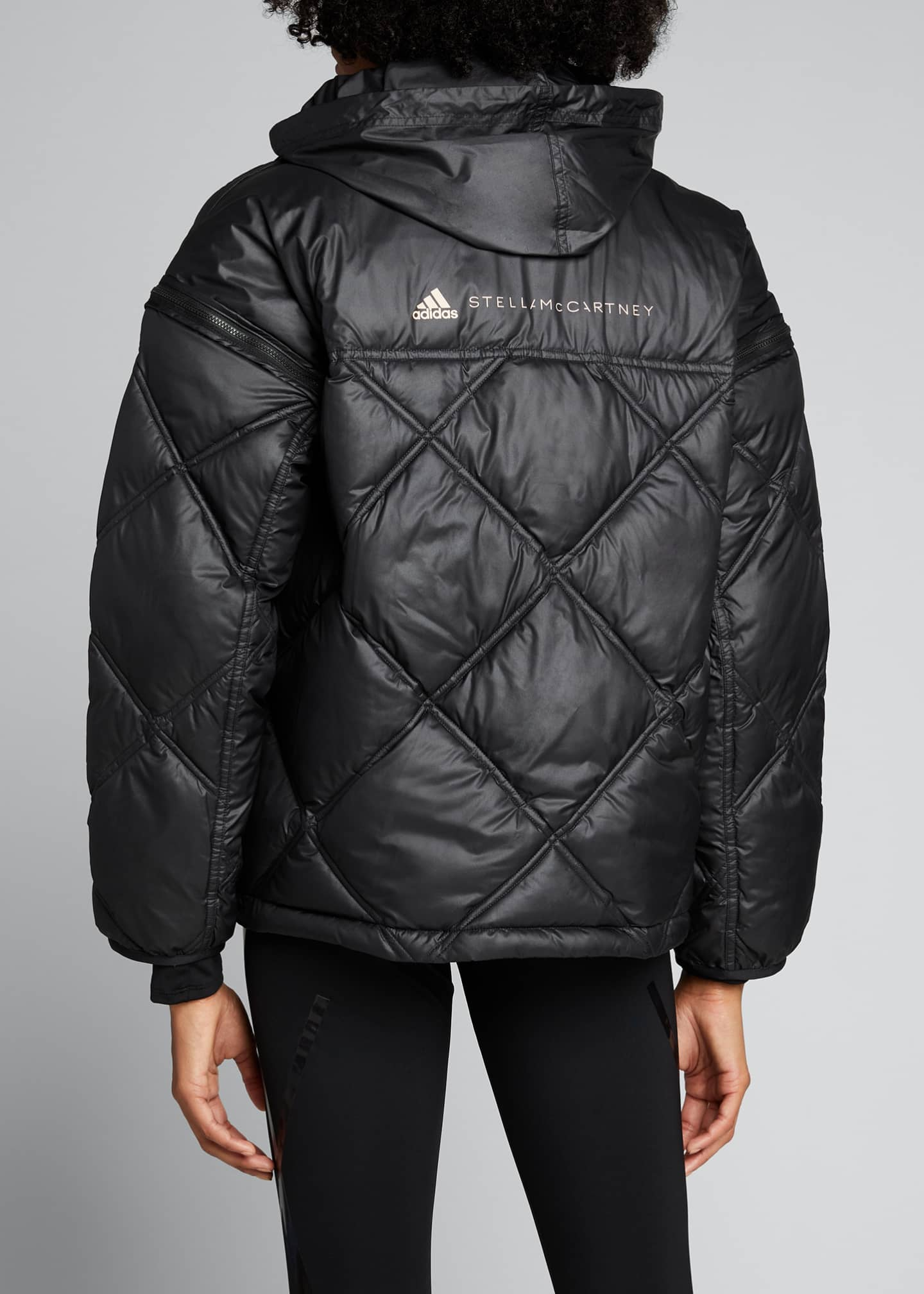 Image 2 of 5: Convertible Short Puffer Jacket w/ Removable Hood