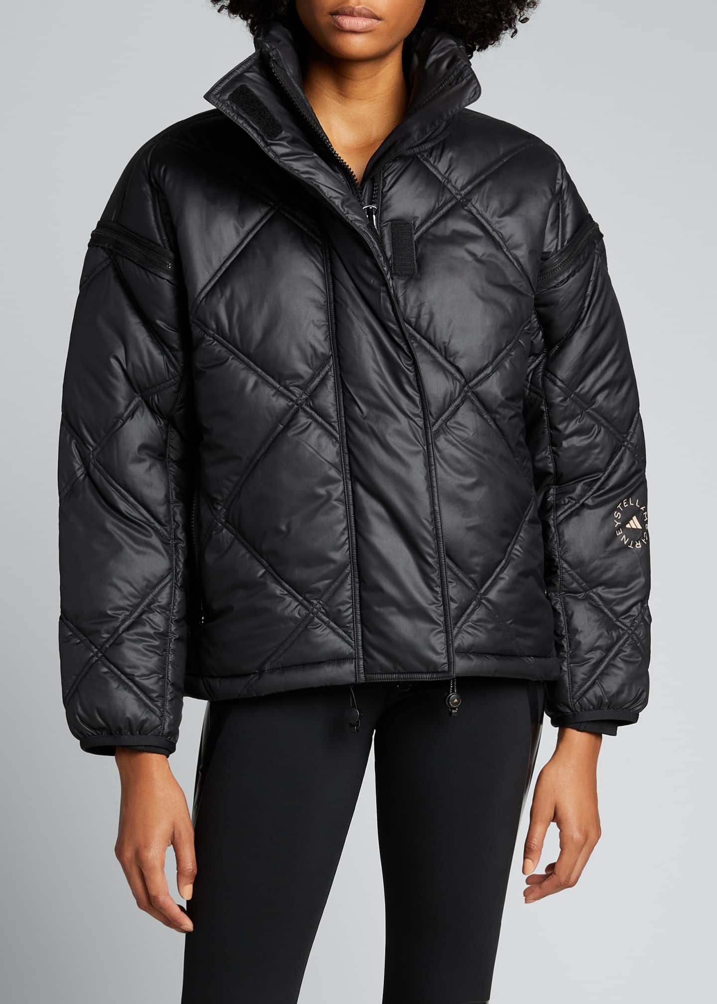 Image 3 of 5: Convertible Short Puffer Jacket w/ Removable Hood