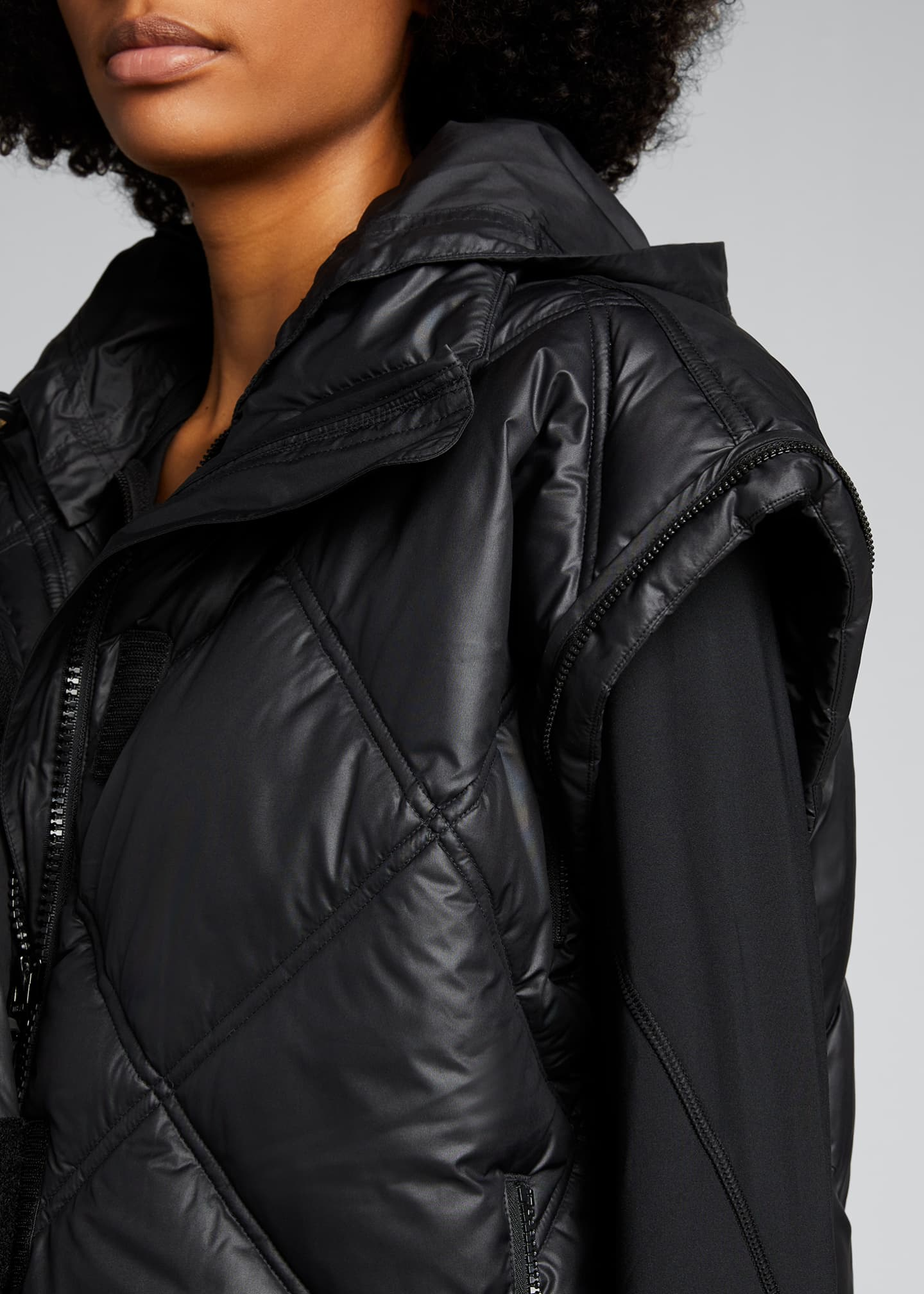 Image 4 of 5: Convertible Short Puffer Jacket w/ Removable Hood
