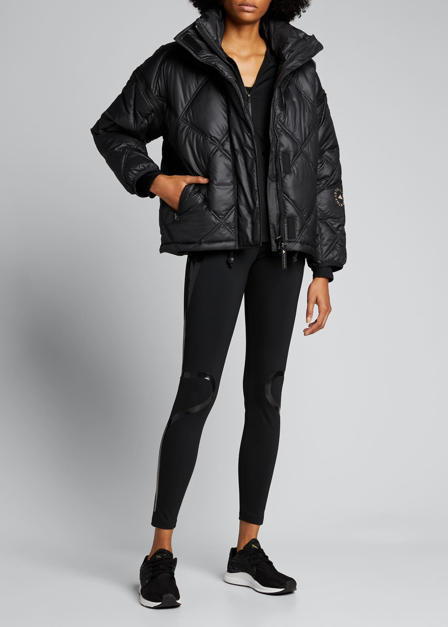Image 1 of 5: Convertible Short Puffer Jacket w/ Removable Hood