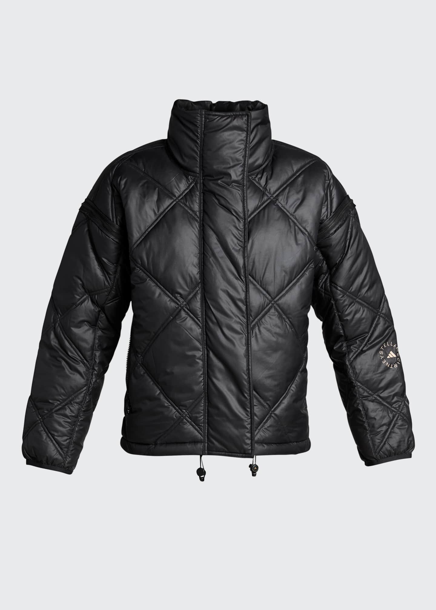 Image 5 of 5: Convertible Short Puffer Jacket w/ Removable Hood