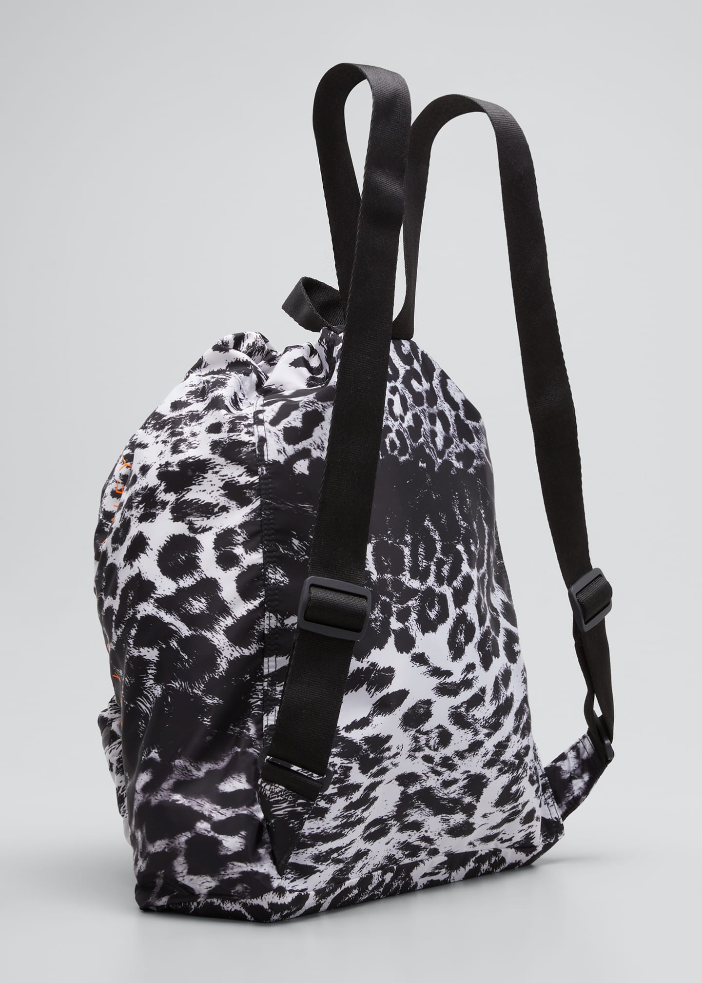 Image 3 of 5: Leopard-Print Drawstring Gym Backpack