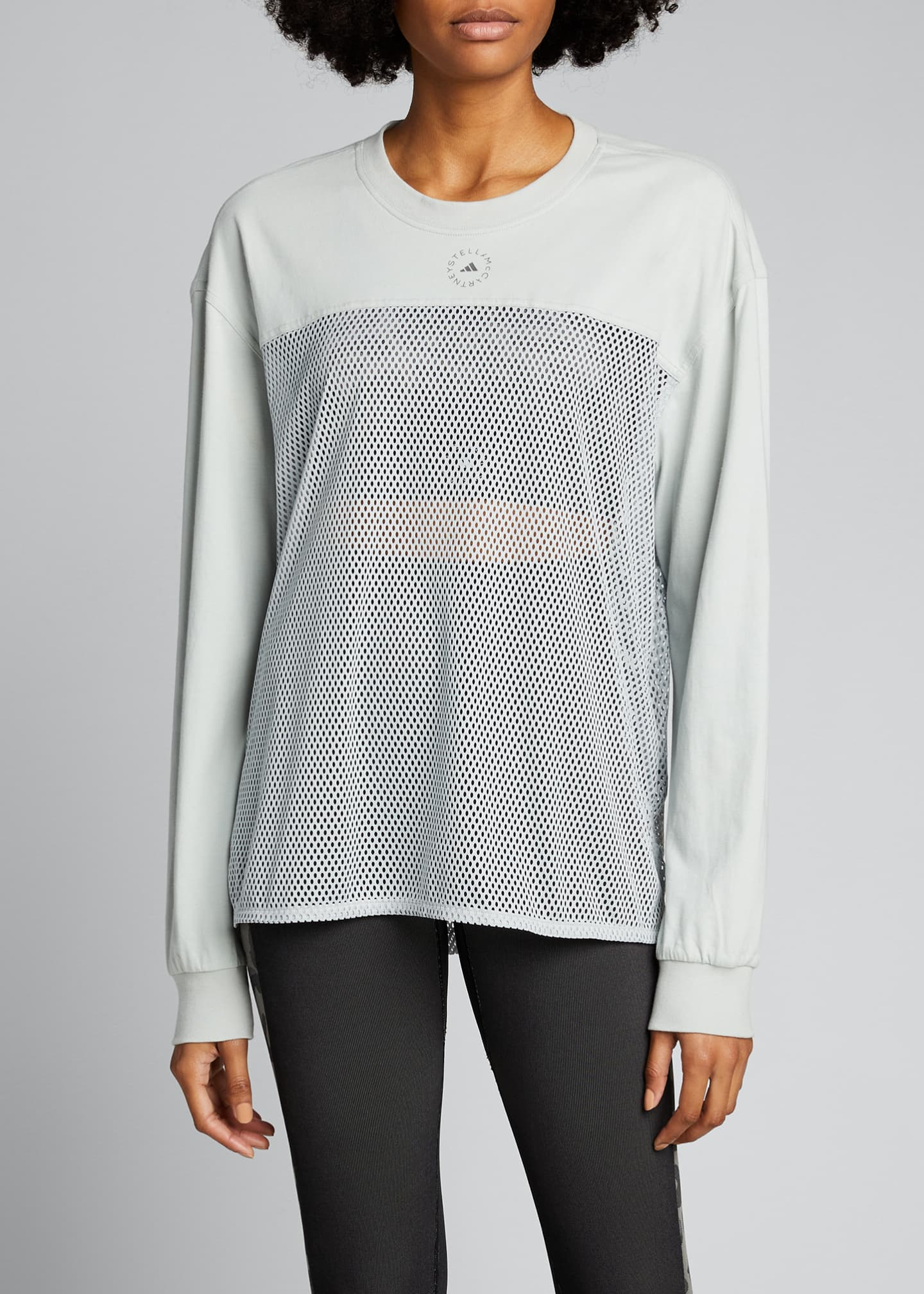 Image 3 of 4: Long-Sleeve Breathable Mesh Paneled Top