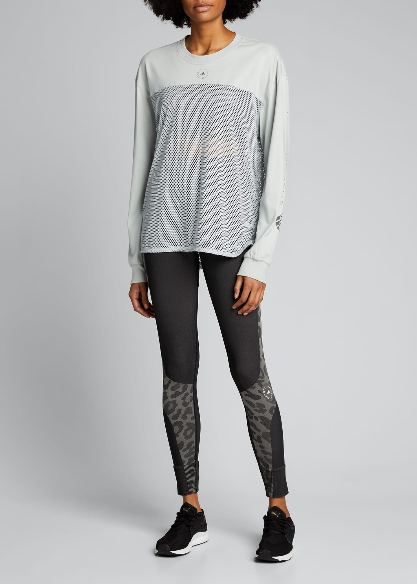 Image 1 of 4: Long-Sleeve Breathable Mesh Paneled Top