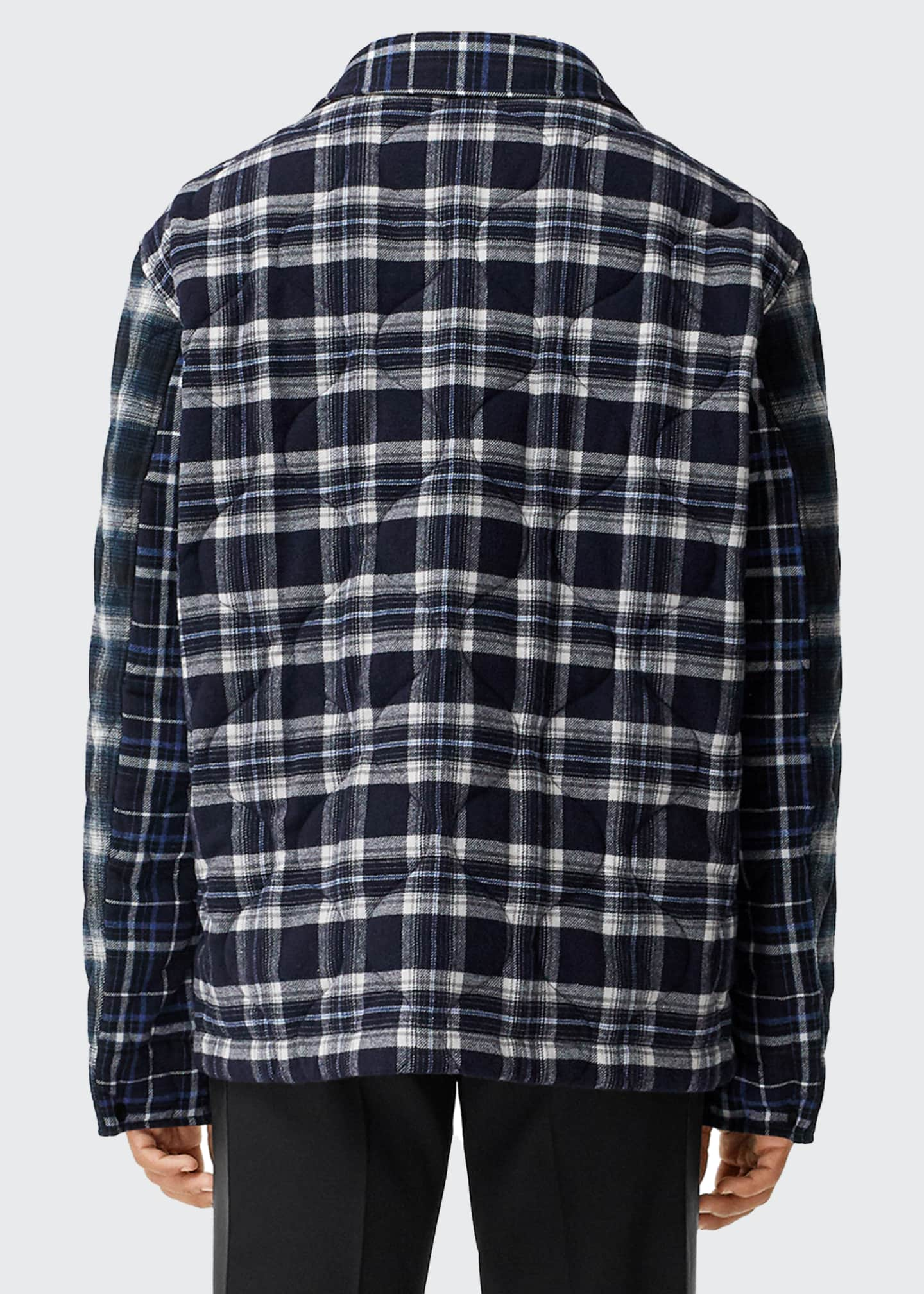 Image 2 of 5: Men's Hexham Quilted Plaid Shirt Jacket