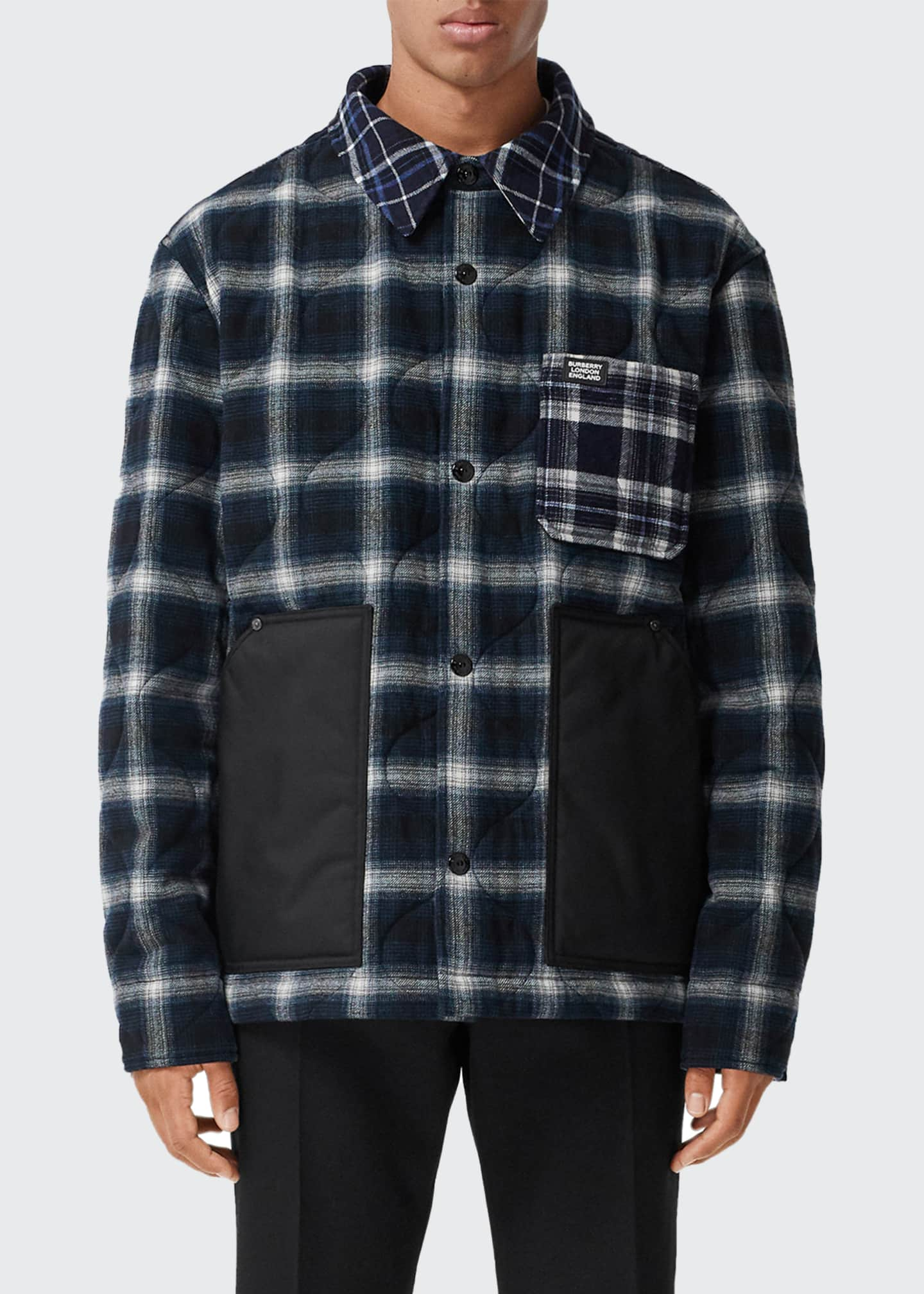 Image 1 of 5: Men's Hexham Quilted Plaid Shirt Jacket