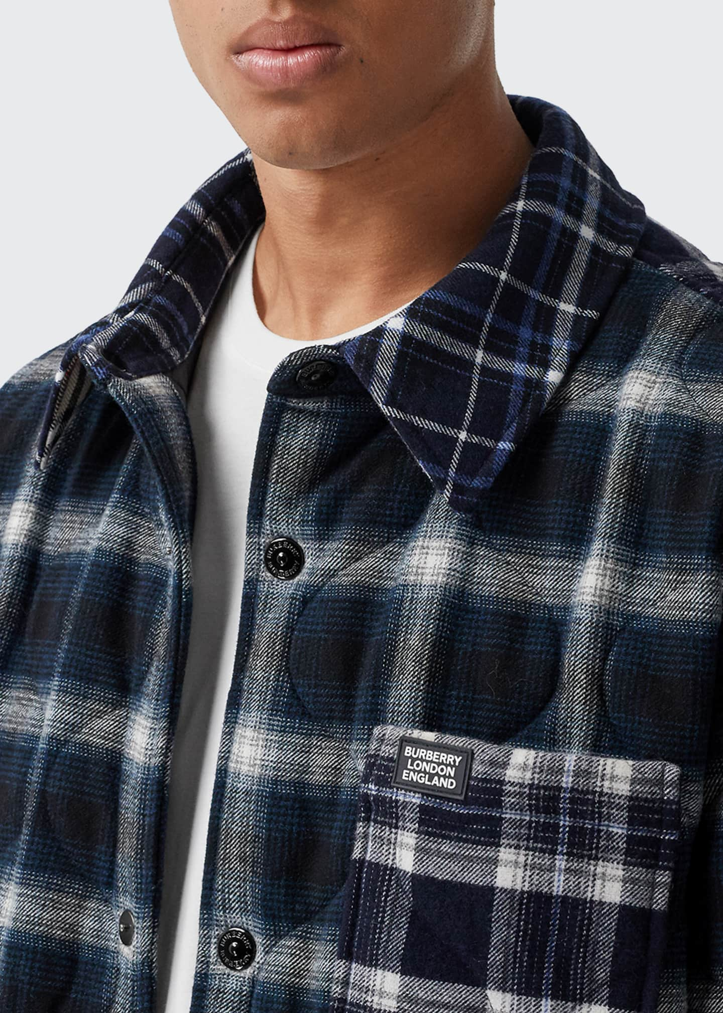 Image 5 of 5: Men's Hexham Quilted Plaid Shirt Jacket