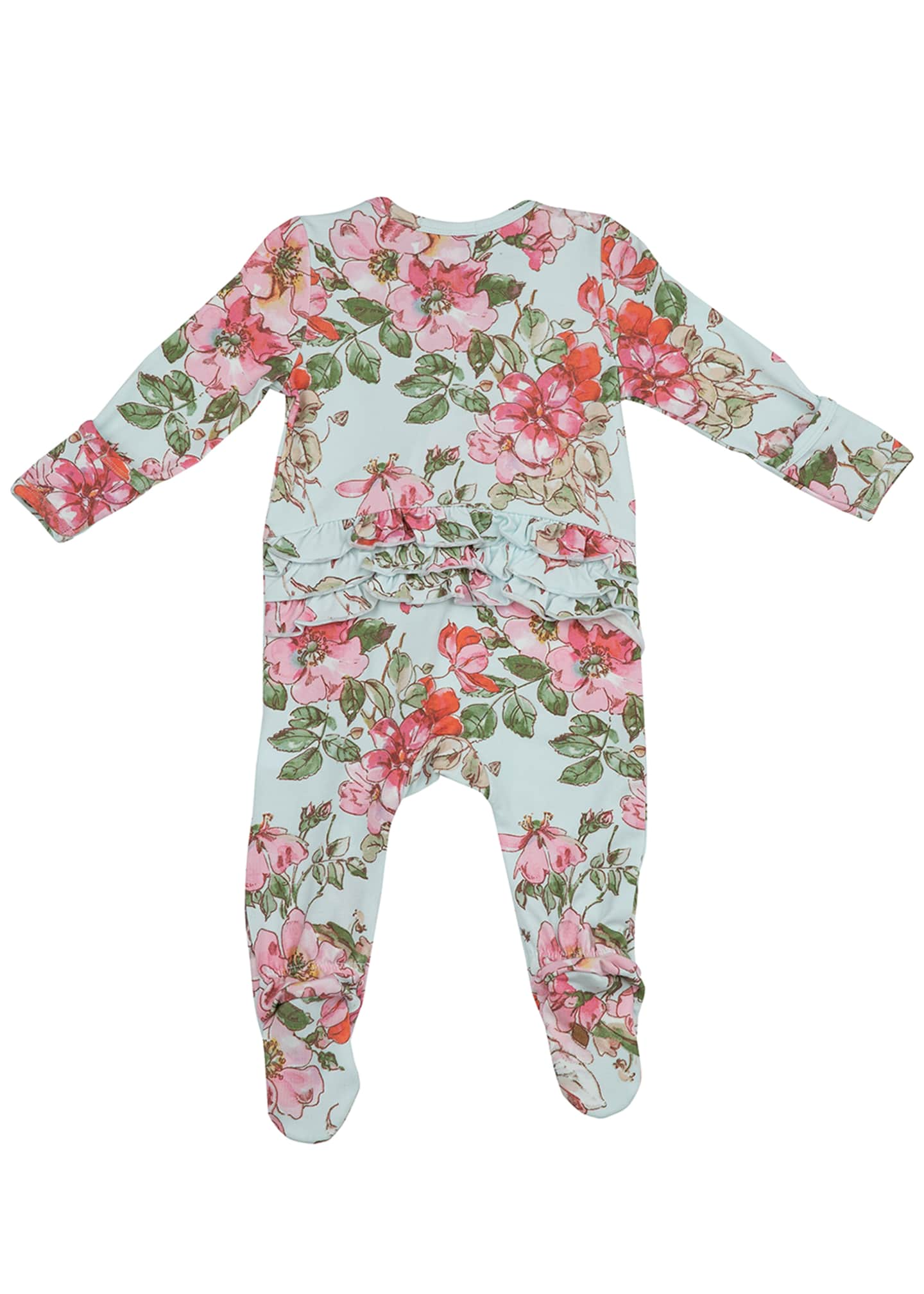 Image 2 of 3: Woodrose Ruffle Back Zipper Footie Playsuit, Size Newborn-24 Months