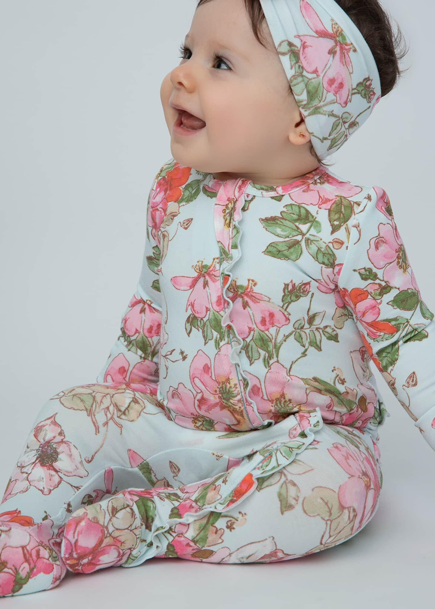 Image 3 of 3: Woodrose Ruffle Back Zipper Footie Playsuit, Size Newborn-24 Months