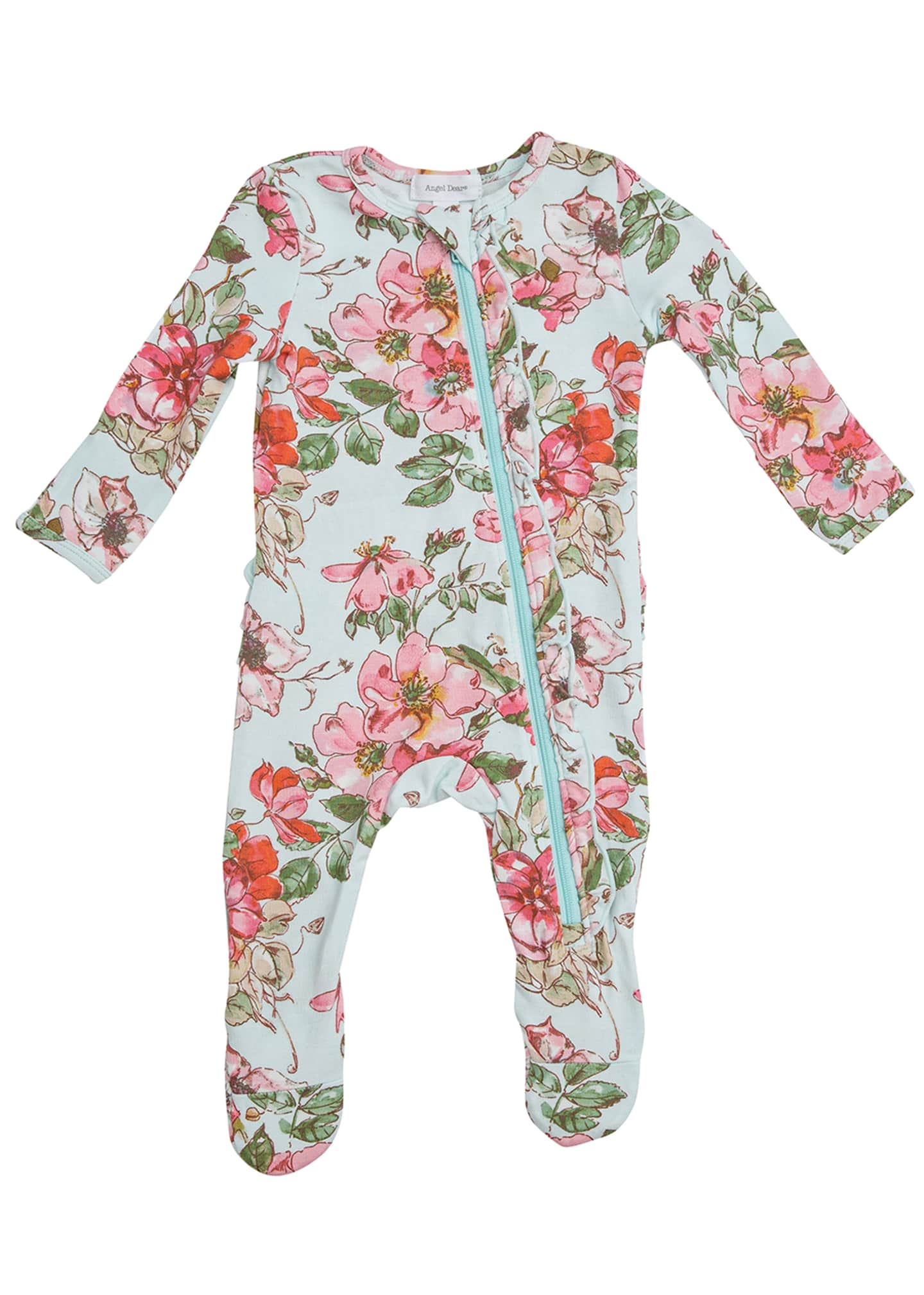 Image 1 of 3: Woodrose Ruffle Back Zipper Footie Playsuit, Size Newborn-24 Months
