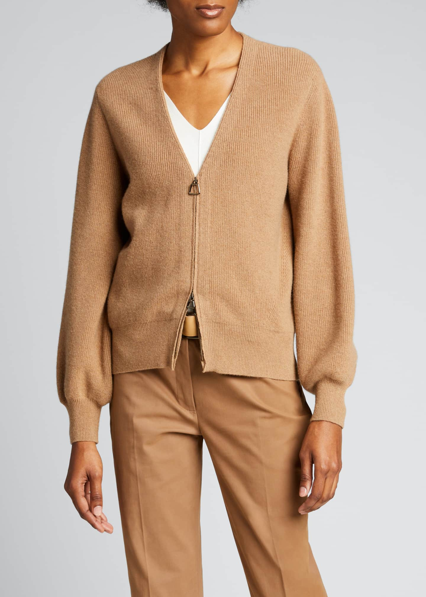 Image 3 of 4: V-Neck Zip-Front Ribbed Cashmere Cardigan