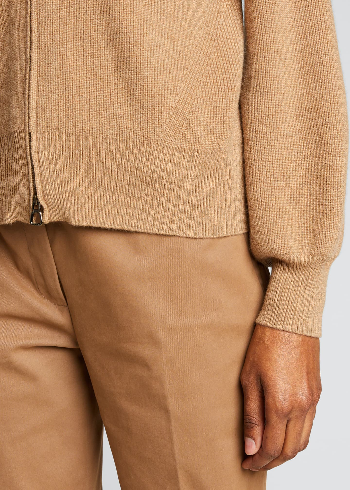 Image 4 of 4: V-Neck Zip-Front Ribbed Cashmere Cardigan