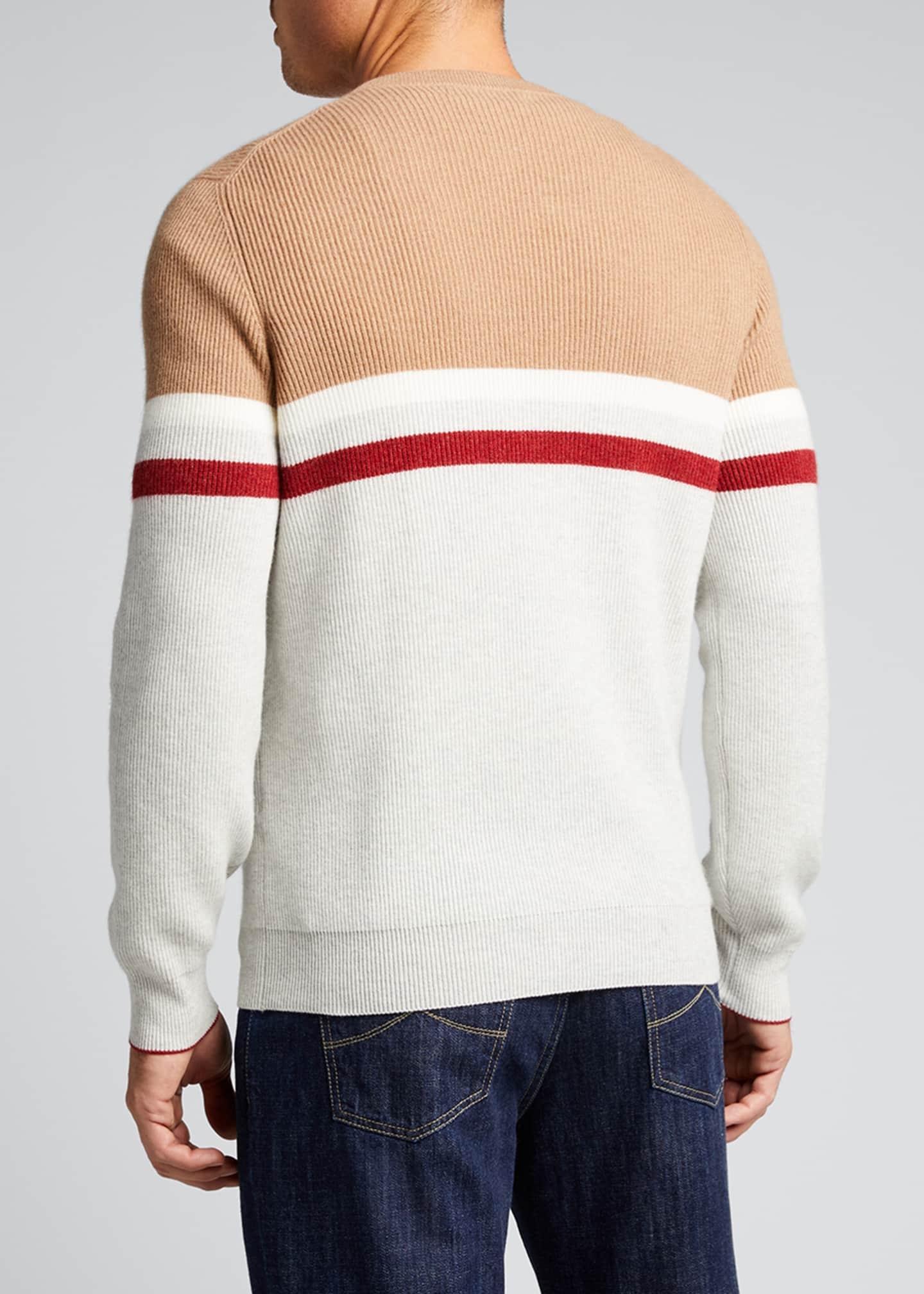 Image 2 of 5: Men's English Ribbed Colorblock Stripe Sweater