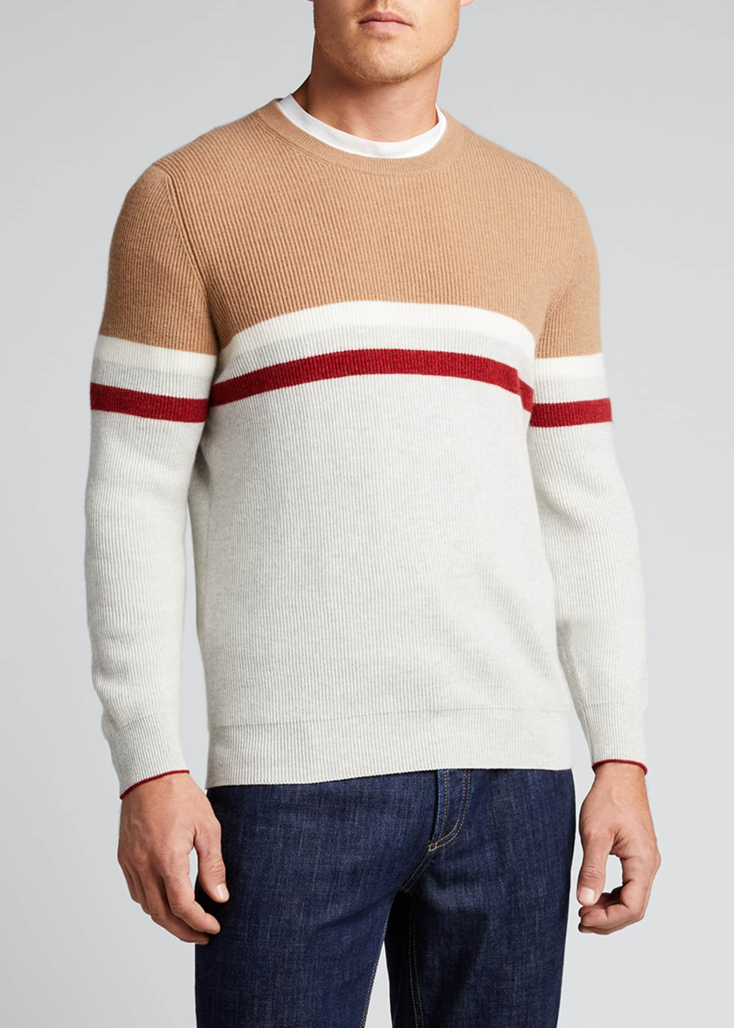 Image 3 of 5: Men's English Ribbed Colorblock Stripe Sweater