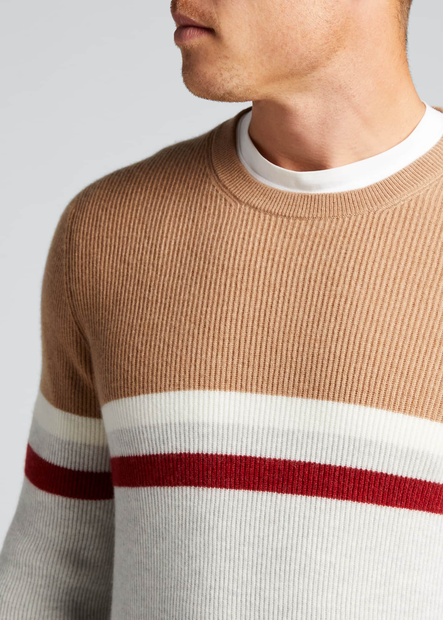 Image 4 of 5: Men's English Ribbed Colorblock Stripe Sweater