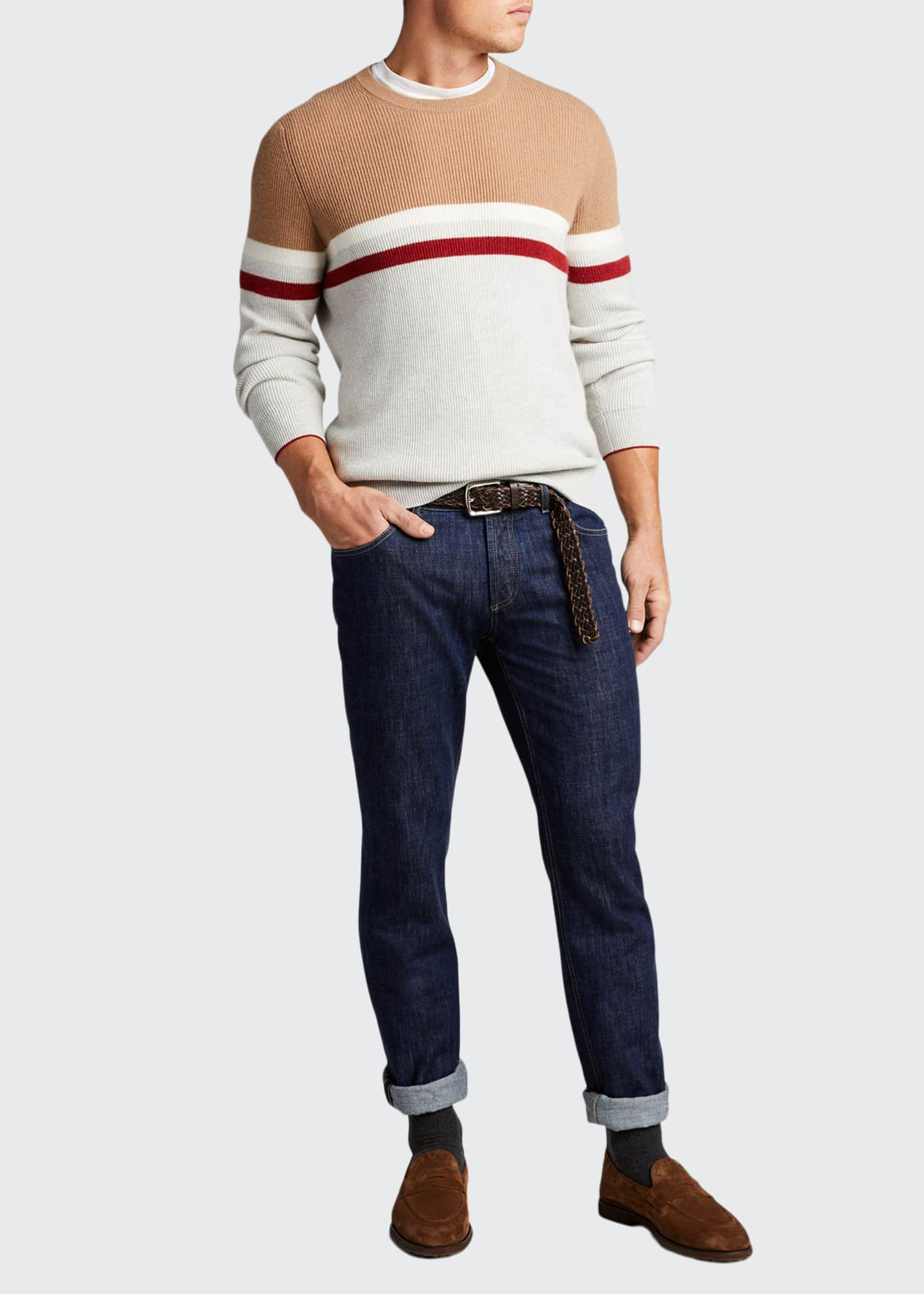 Image 1 of 5: Men's English Ribbed Colorblock Stripe Sweater