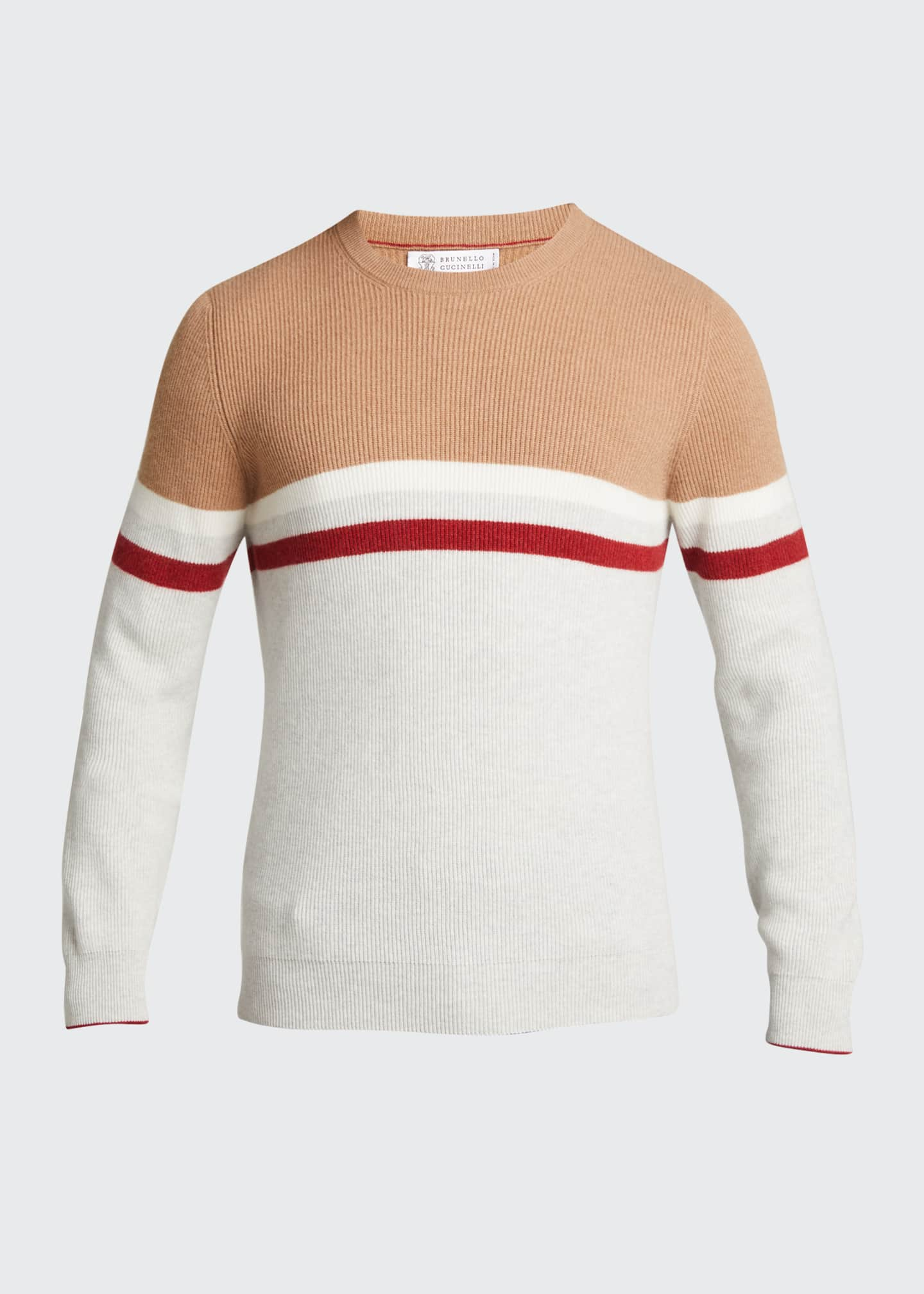 Image 5 of 5: Men's English Ribbed Colorblock Stripe Sweater