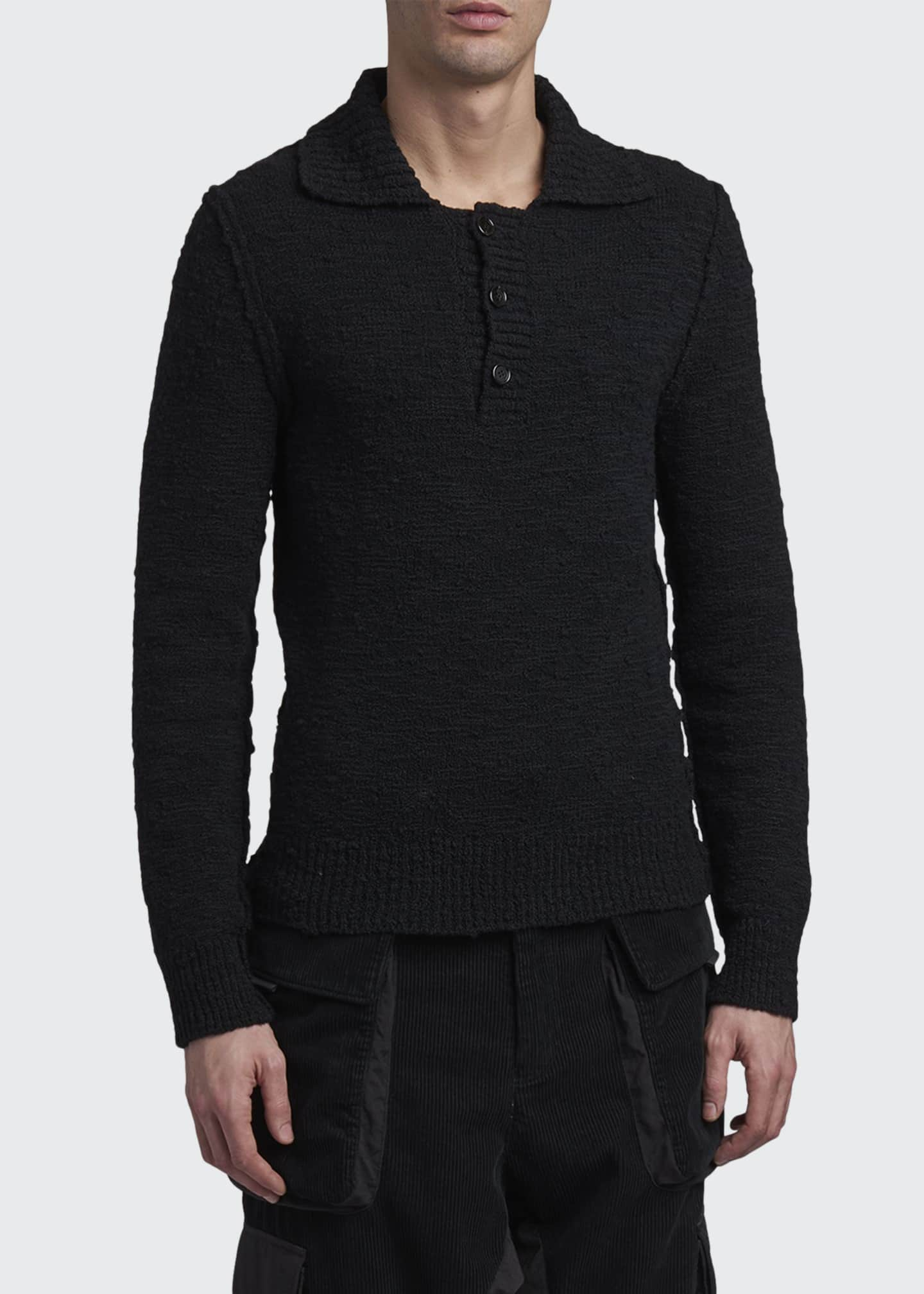 Image 1 of 2: Men's Knit Cashmere Long-Sleeve Polo Shirt