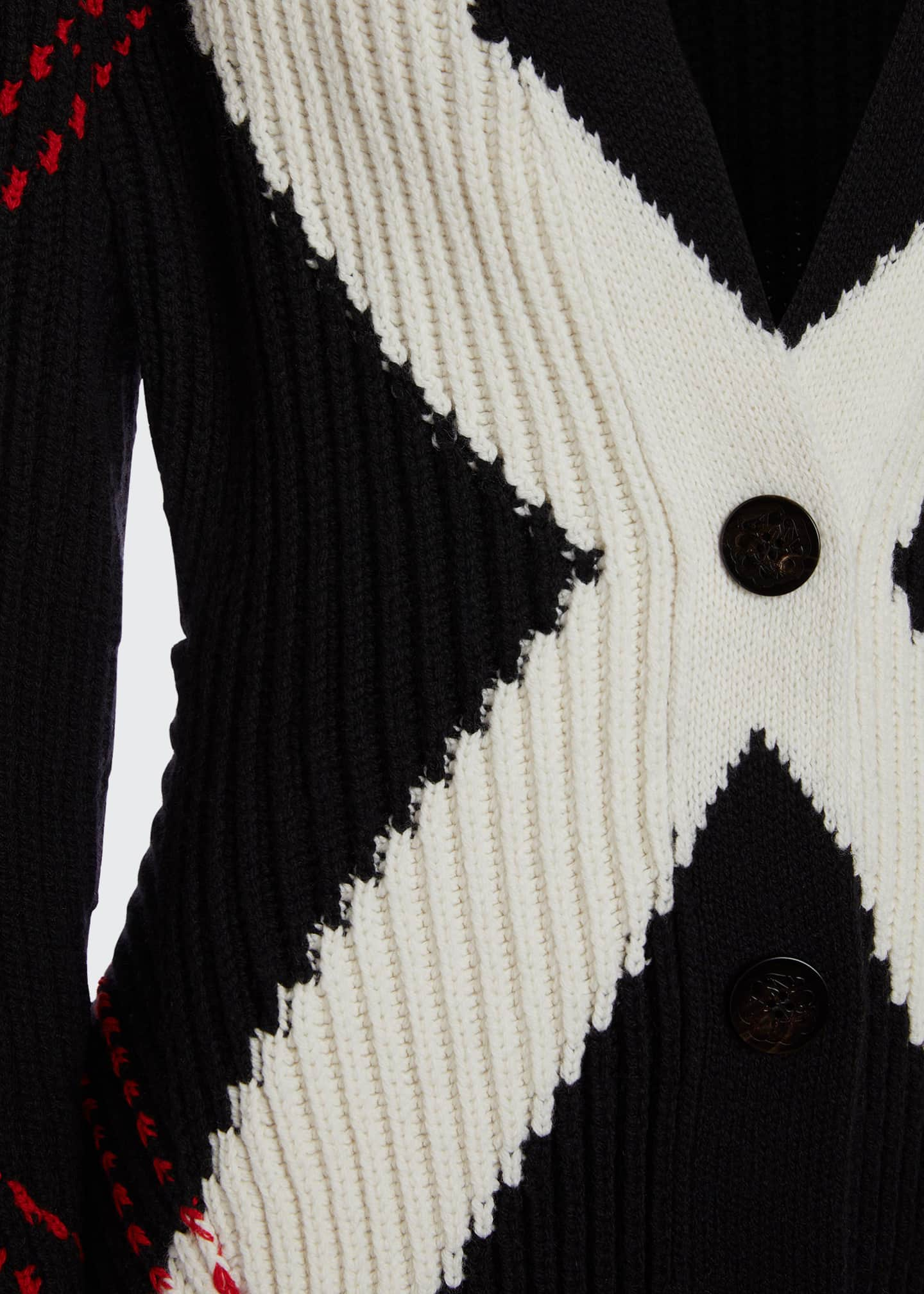 Image 4 of 5: Argyle Intarsia Knit Wool-Cashmere Cardigan