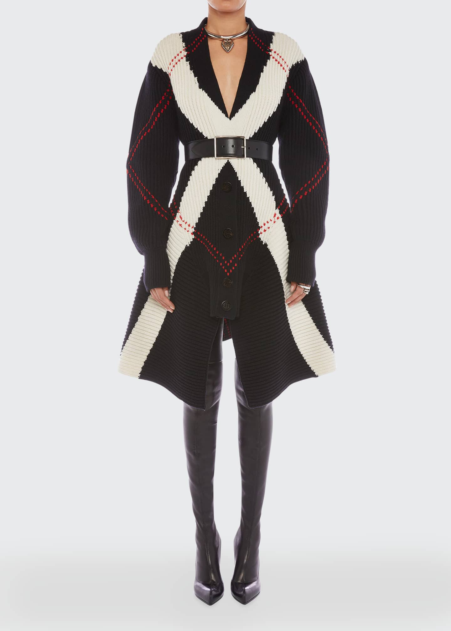 Image 1 of 5: Argyle Intarsia Knit Wool-Cashmere Cardigan