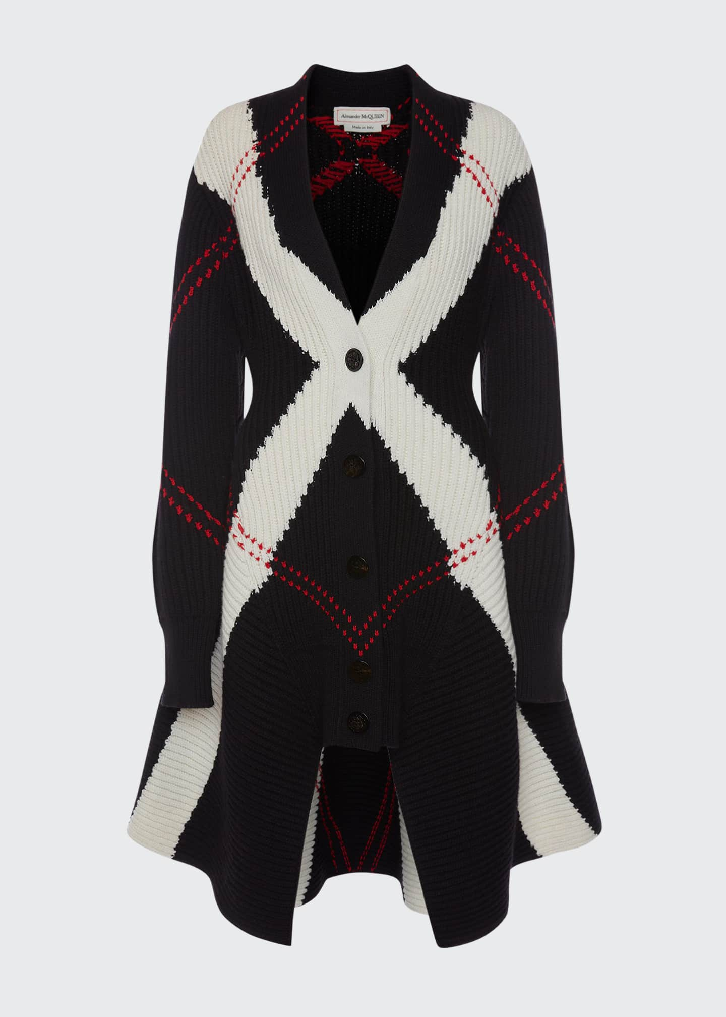 Image 5 of 5: Argyle Intarsia Knit Wool-Cashmere Cardigan