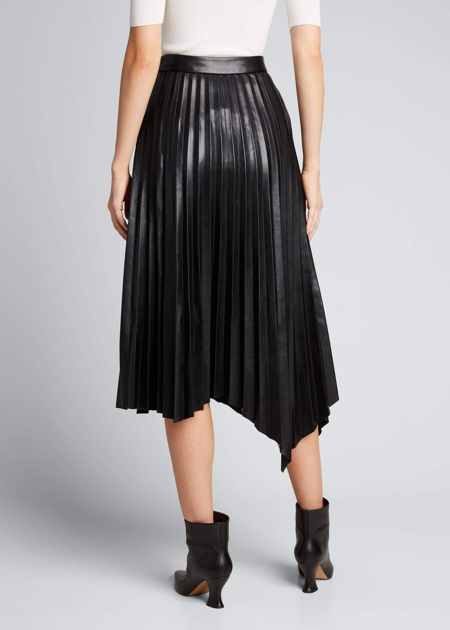 Image 2 of 5: Jayla Vegan Leather Pleated Midi Skirt