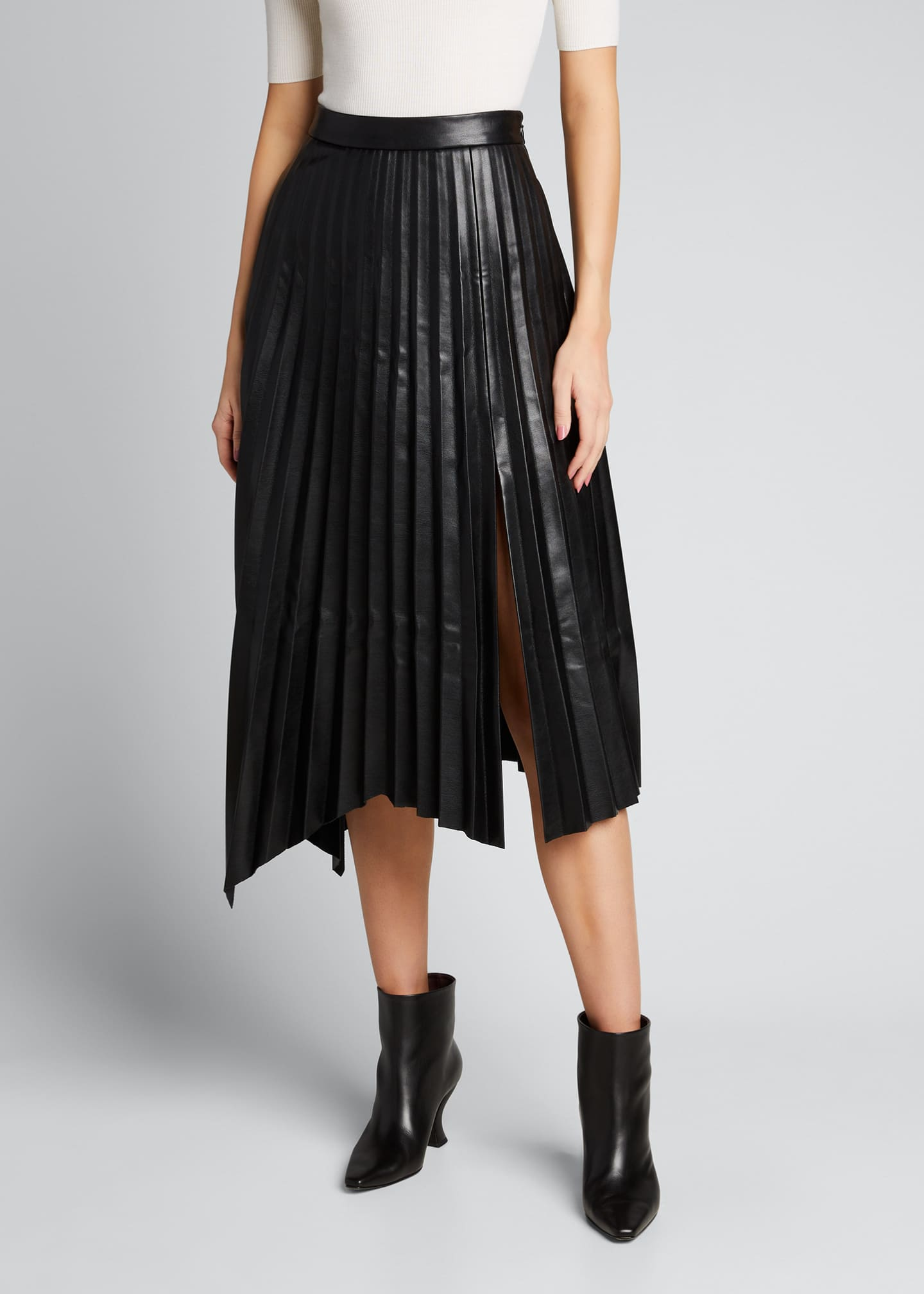 Image 3 of 5: Jayla Vegan Leather Pleated Midi Skirt