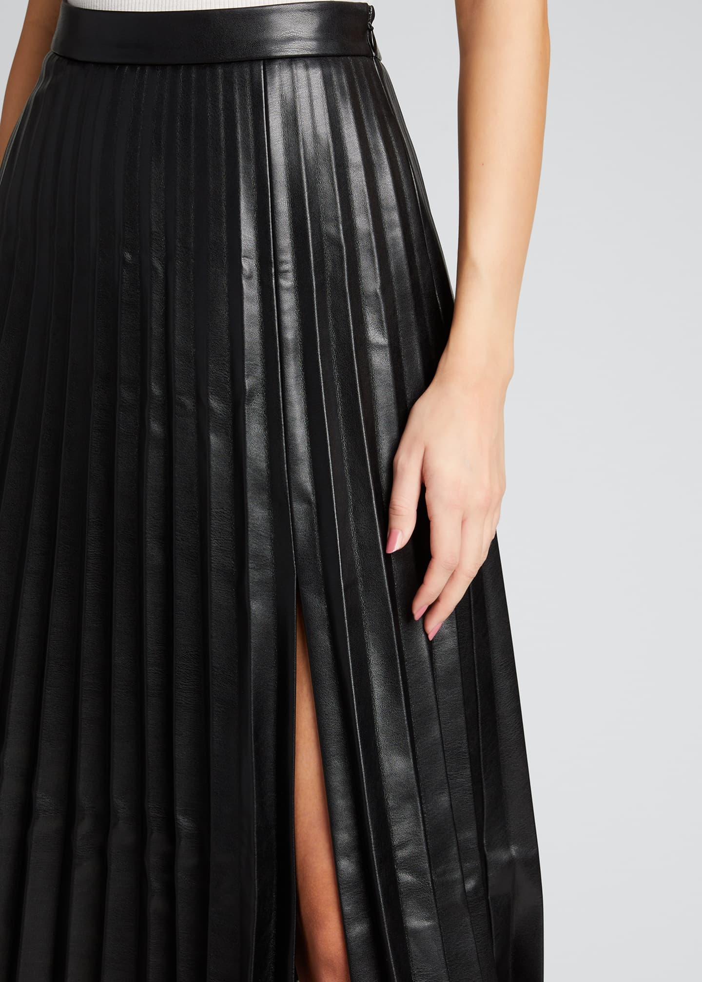 Image 4 of 5: Jayla Vegan Leather Pleated Midi Skirt
