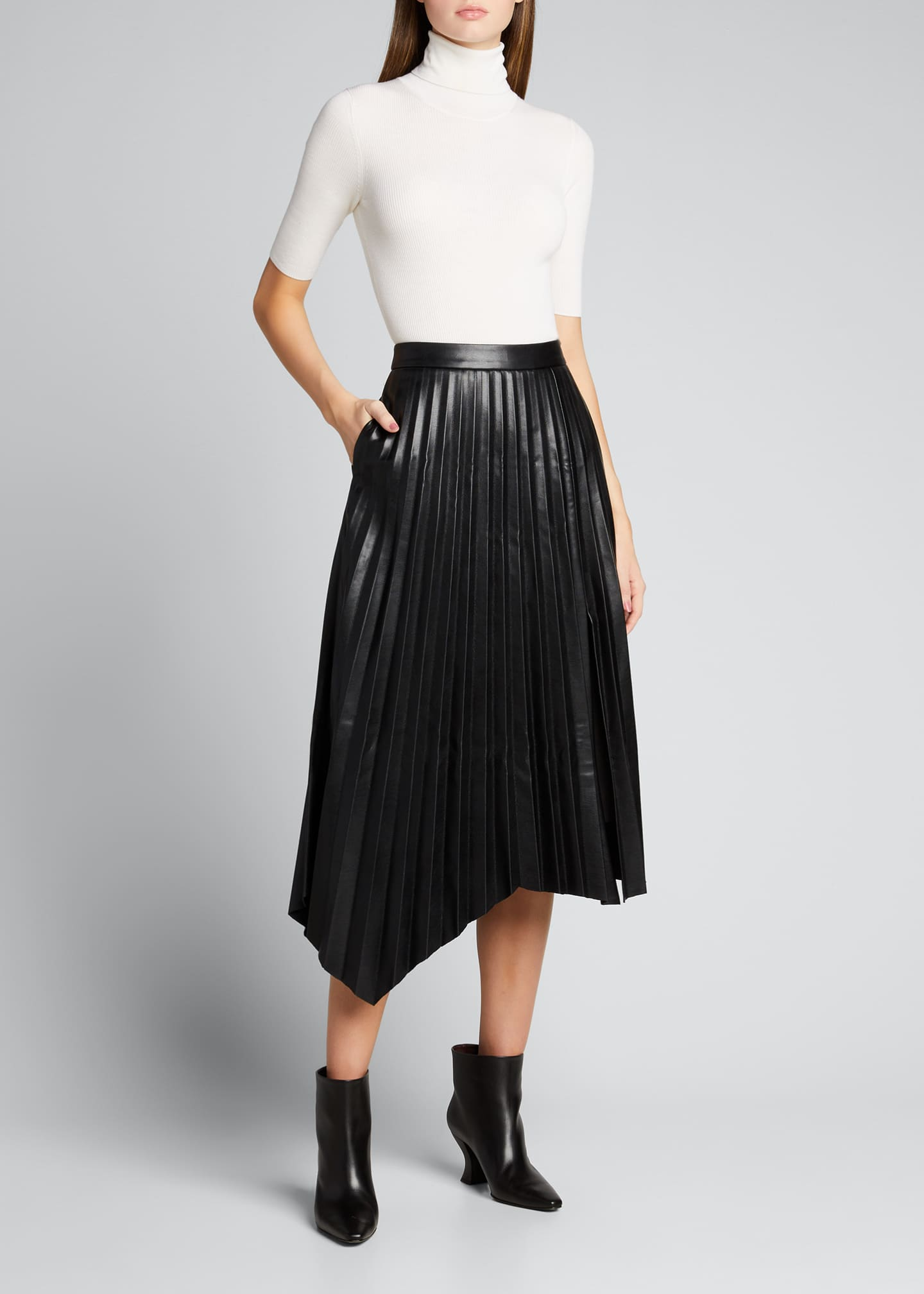 Image 1 of 5: Jayla Vegan Leather Pleated Midi Skirt