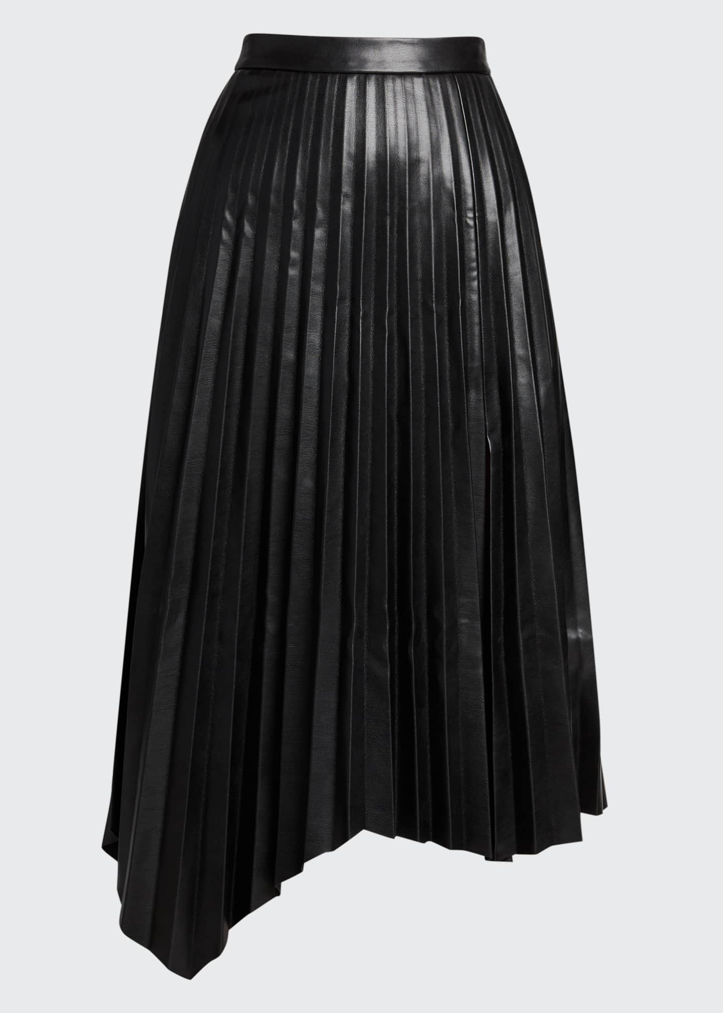 Image 5 of 5: Jayla Vegan Leather Pleated Midi Skirt