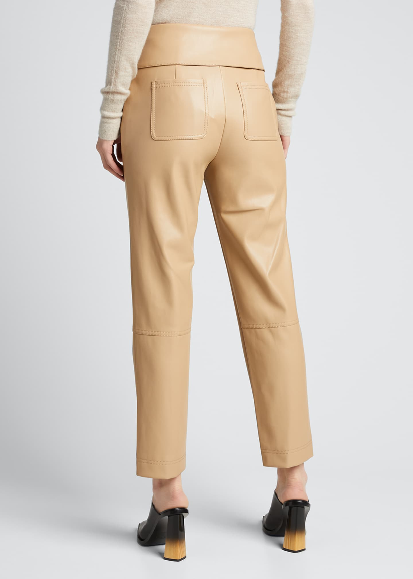 Image 2 of 5: Tessa Vegan Leather Tie-Waist Pants