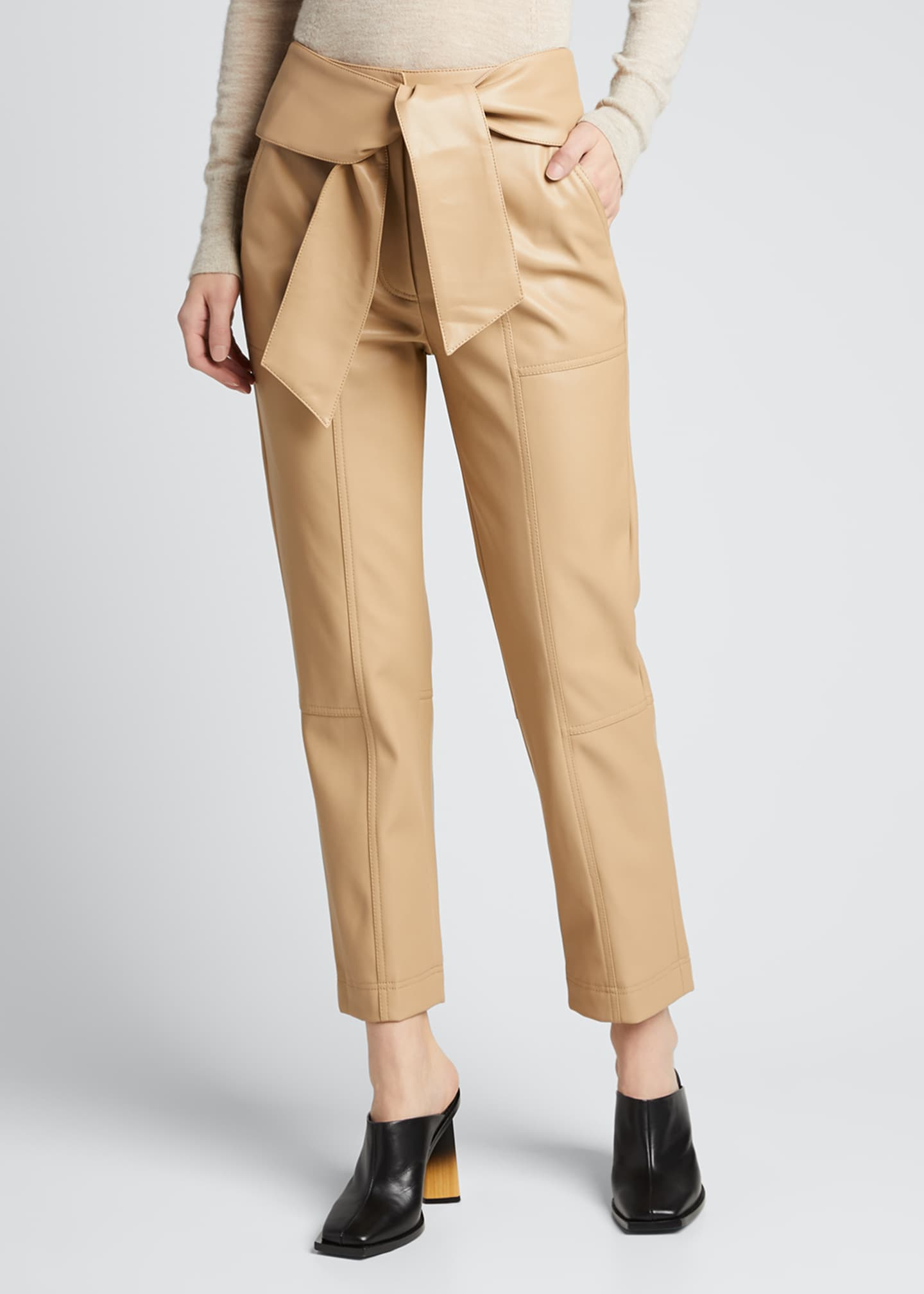 Image 3 of 5: Tessa Vegan Leather Tie-Waist Pants