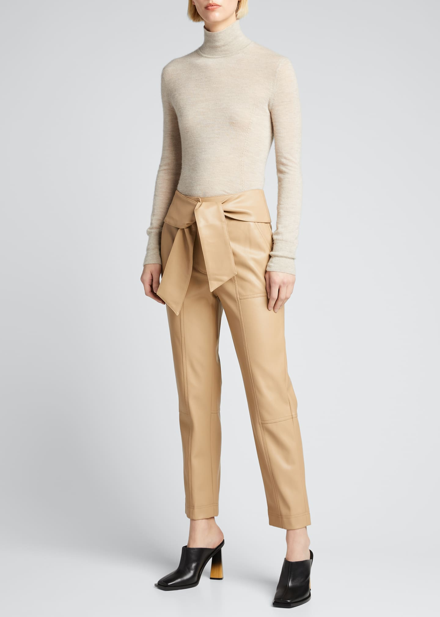 Image 1 of 5: Tessa Vegan Leather Tie-Waist Pants