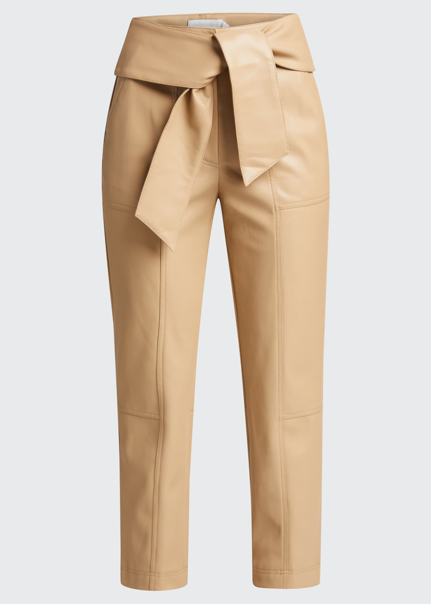 Image 5 of 5: Tessa Vegan Leather Tie-Waist Pants