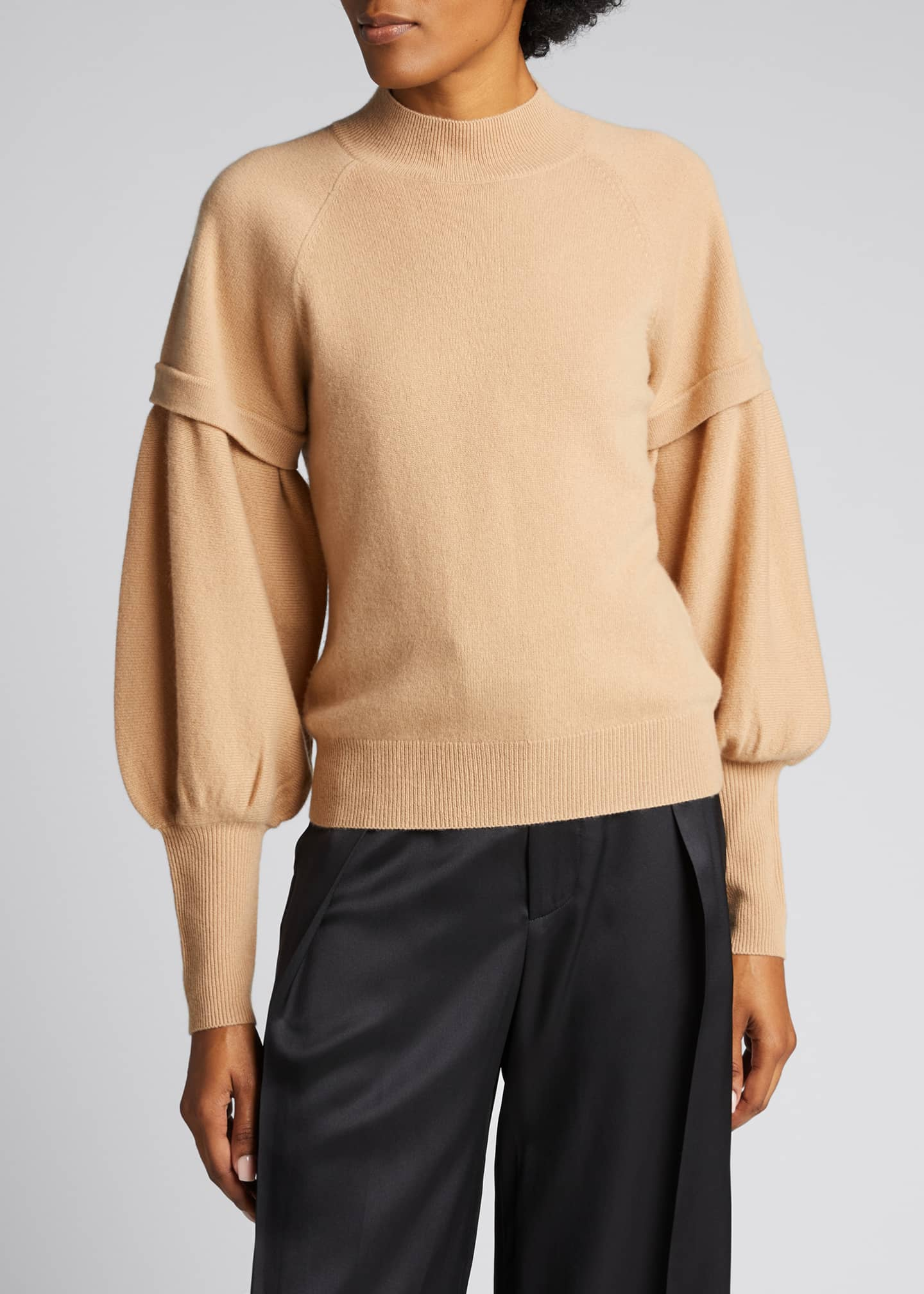 Image 3 of 5: Mackenzie Cashmere Balloon-Sleeve Sweater