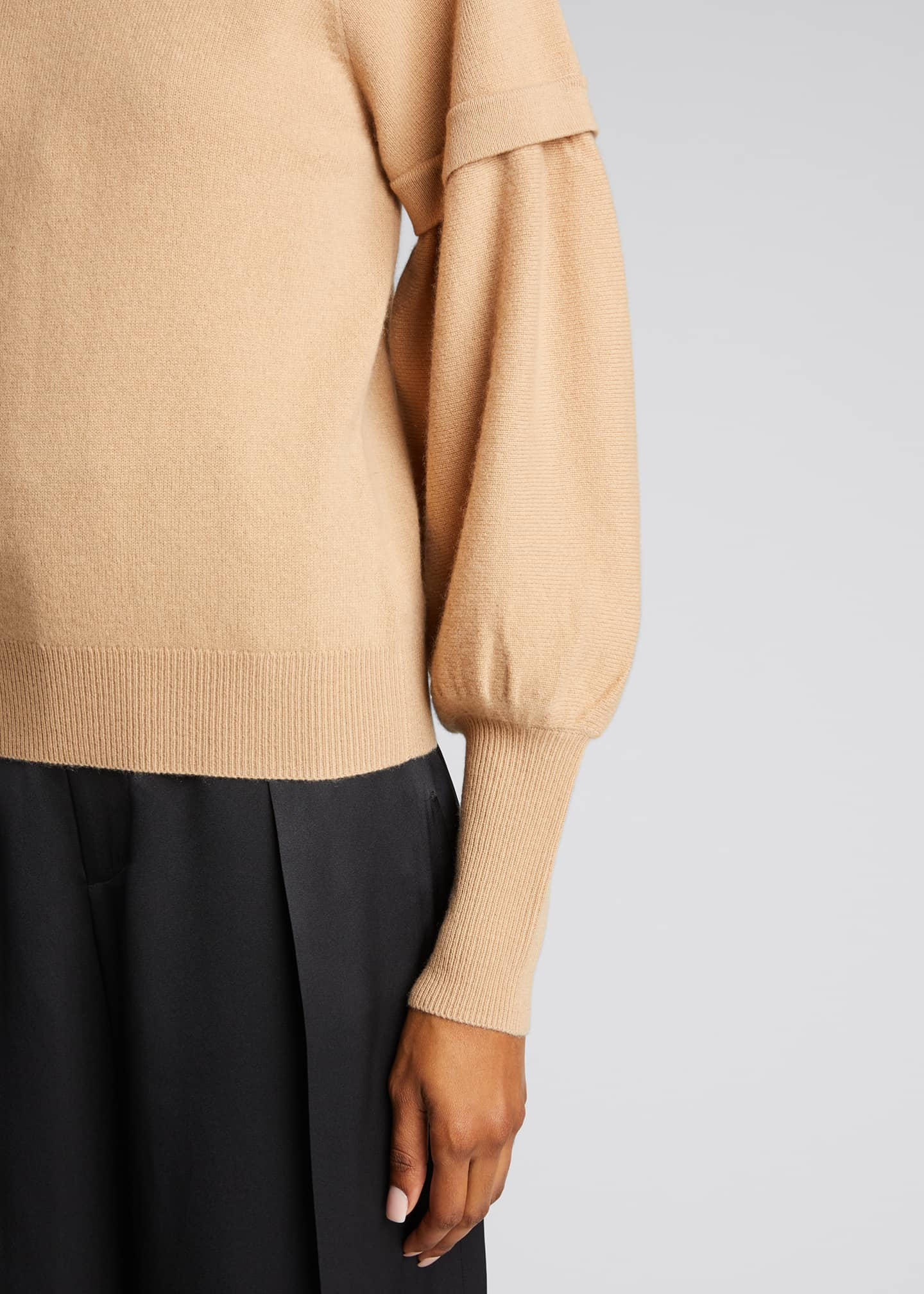 Image 4 of 5: Mackenzie Cashmere Balloon-Sleeve Sweater