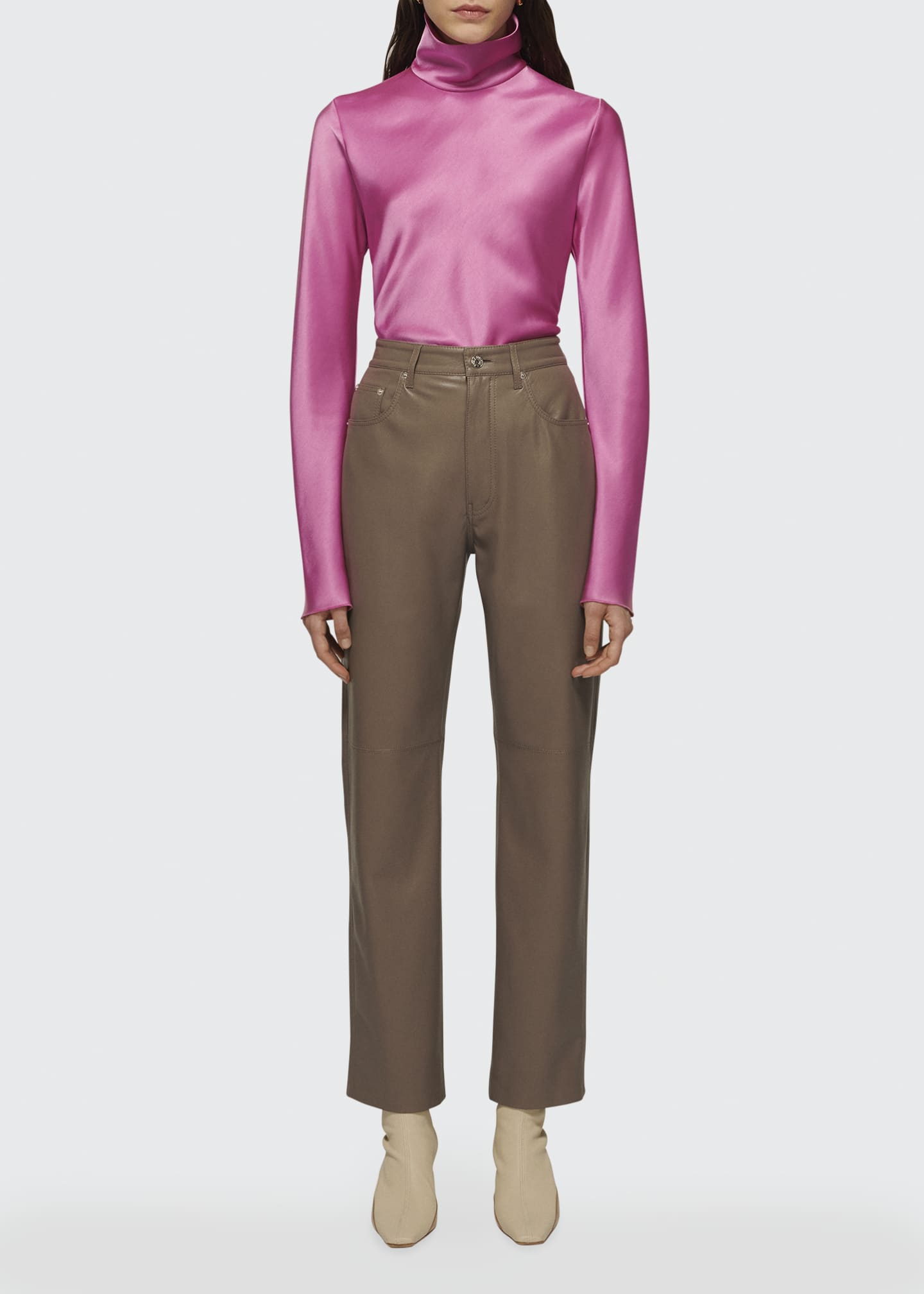 Image 1 of 1: Vinni Vegan Leather Straight-Leg Pants