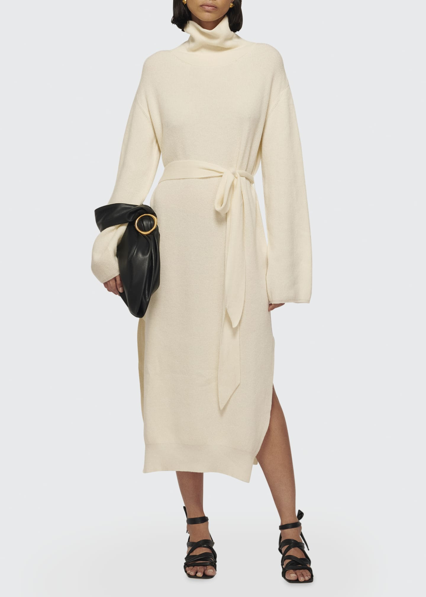 Image 1 of 1: Canaan Rib-Knit Side-Slit Belted Midi Dress