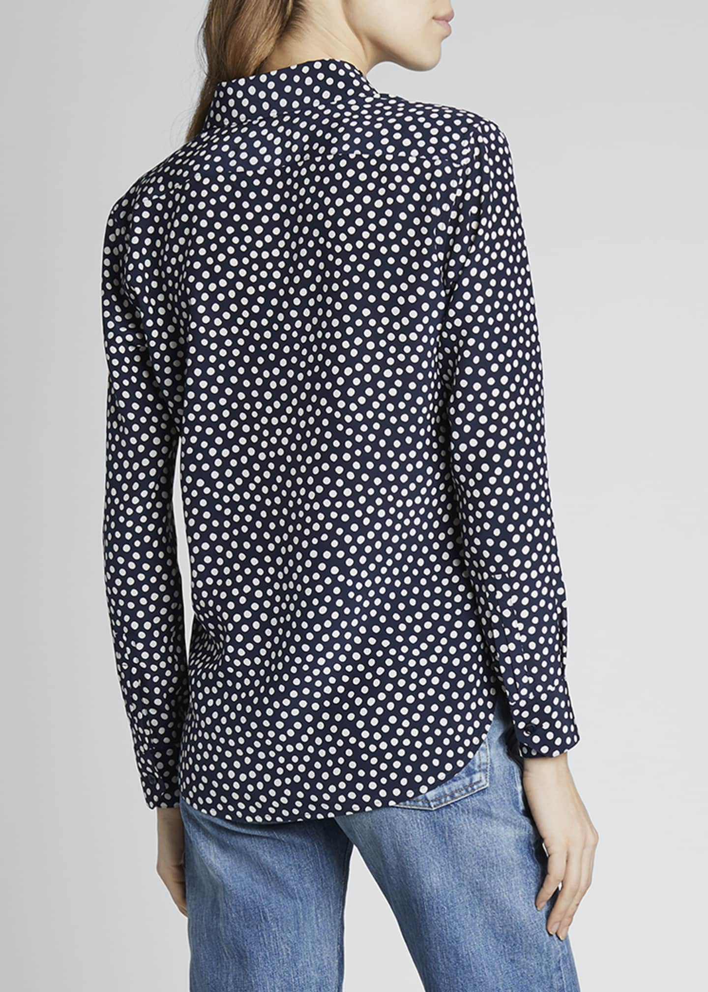 Image 2 of 4: Dots Long-Sleeve Button-Down Silk Shirt
