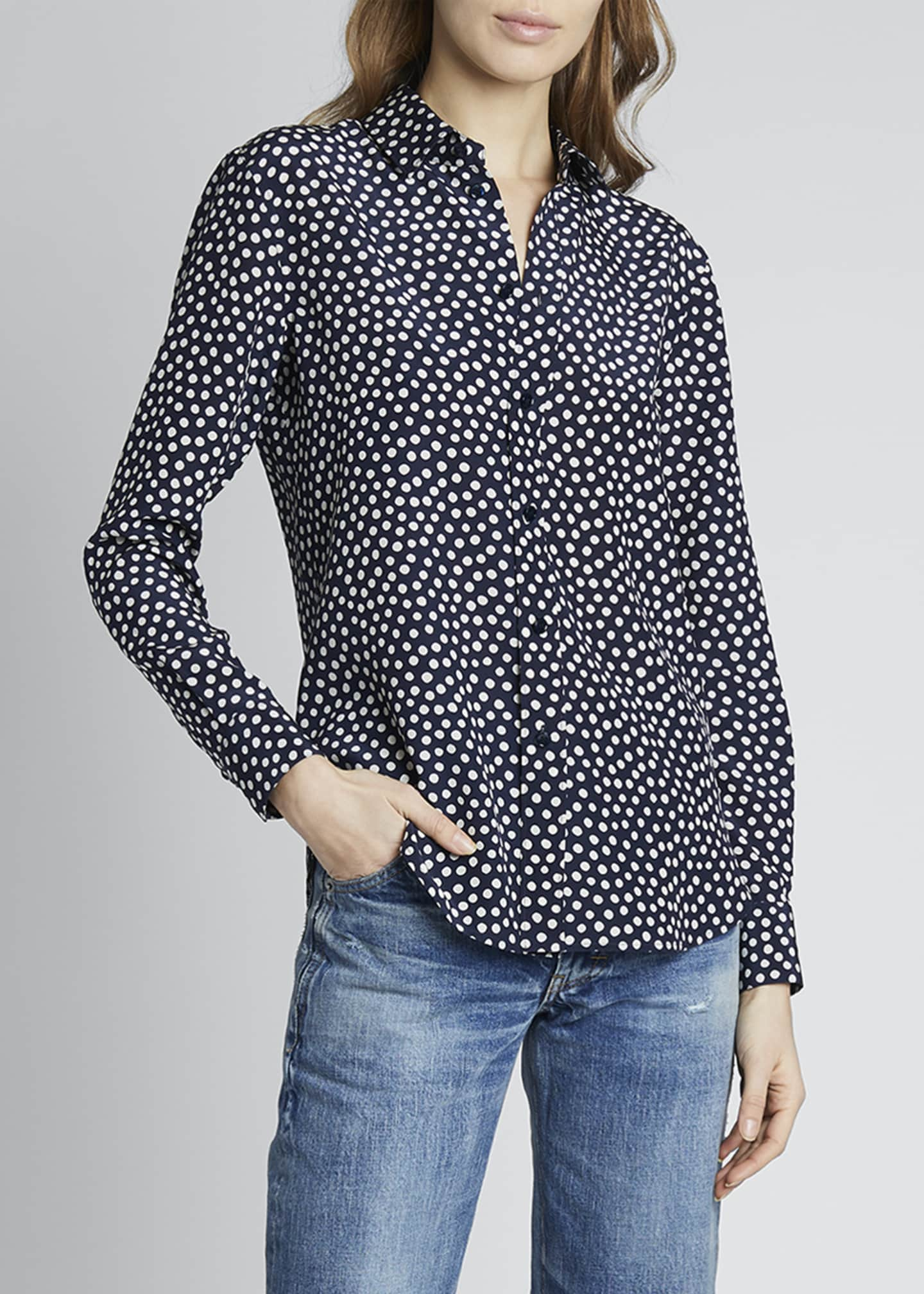 Image 3 of 4: Dots Long-Sleeve Button-Down Silk Shirt