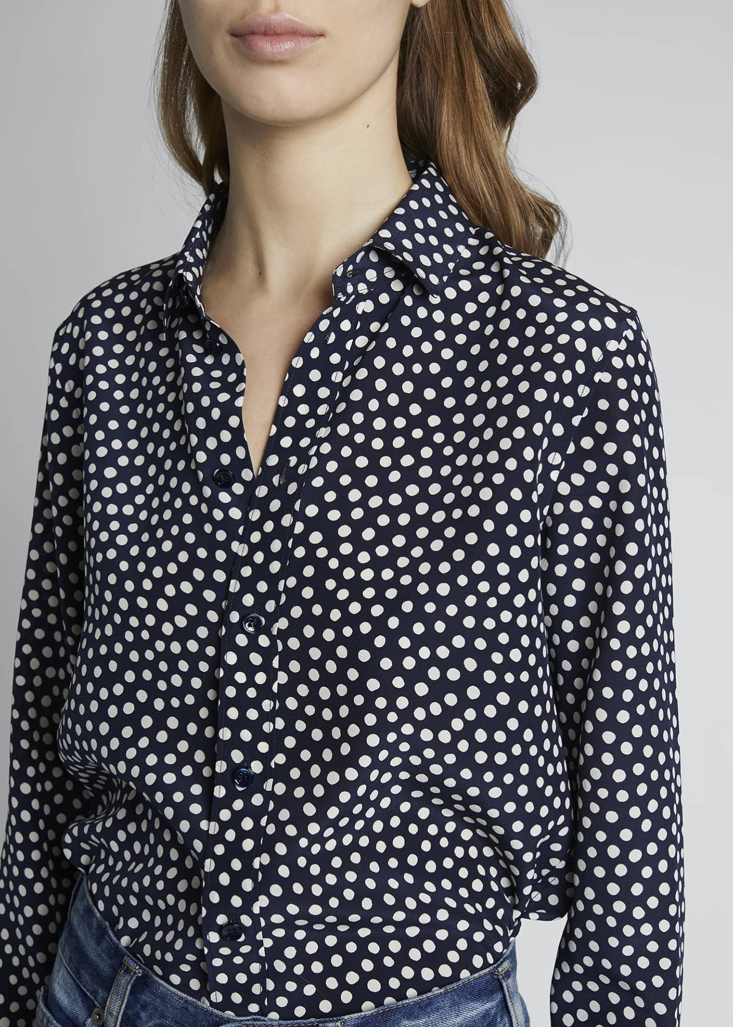 Image 4 of 4: Dots Long-Sleeve Button-Down Silk Shirt