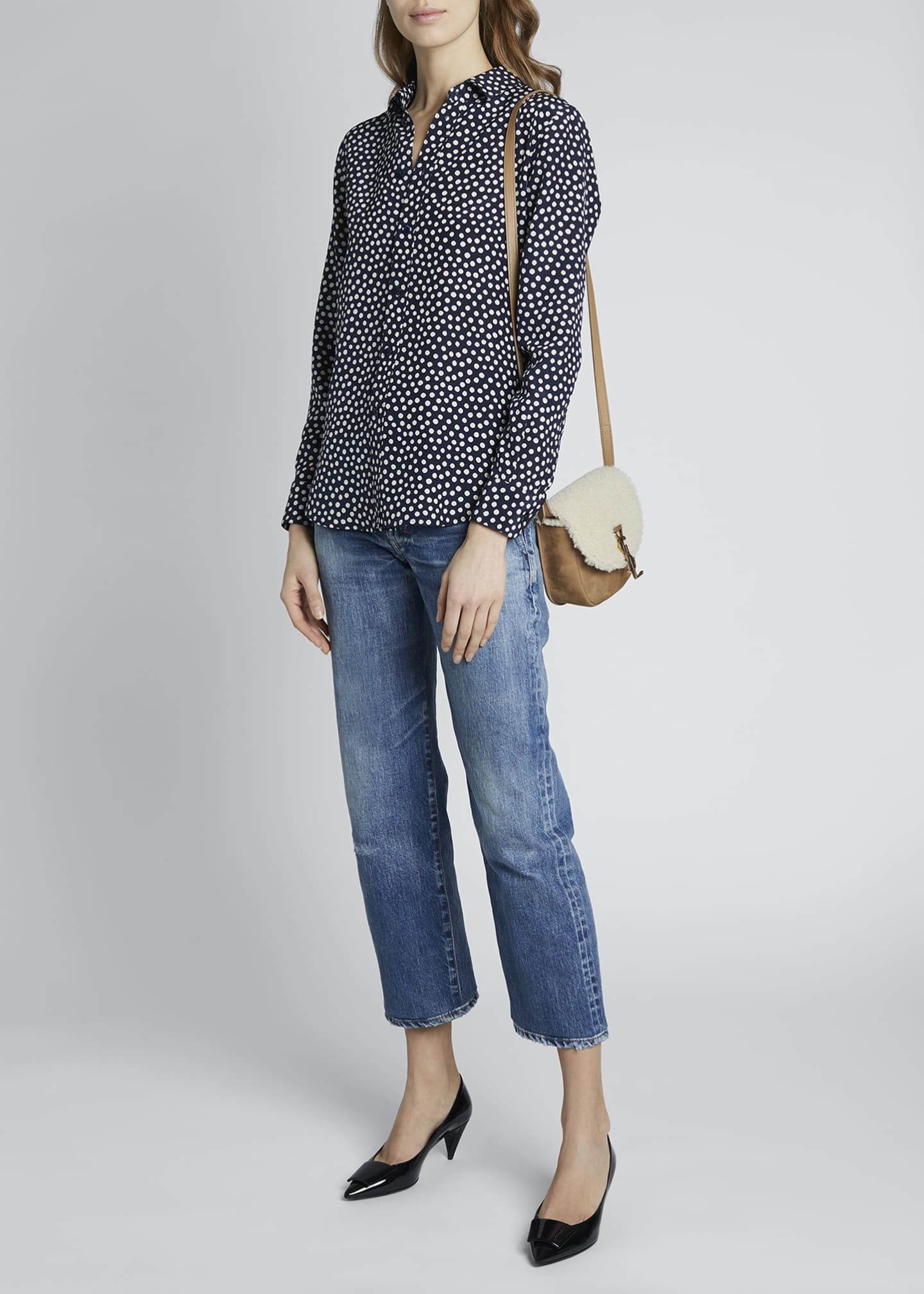 Image 1 of 4: Dots Long-Sleeve Button-Down Silk Shirt
